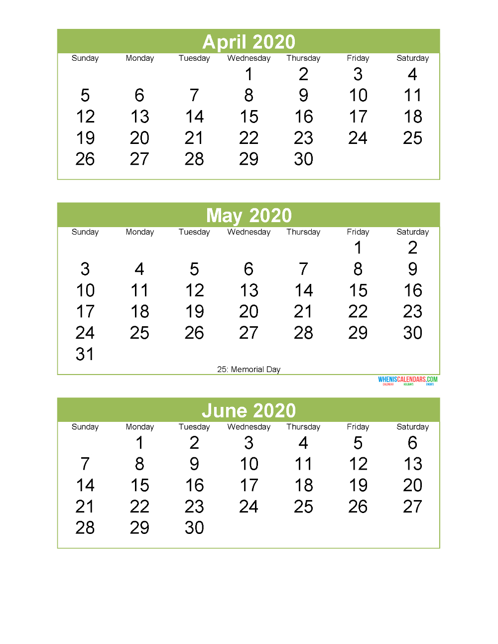 Free Printable 3 Month Calendar 2020 April May June | Free for 3 Month Calendar Printable 2020