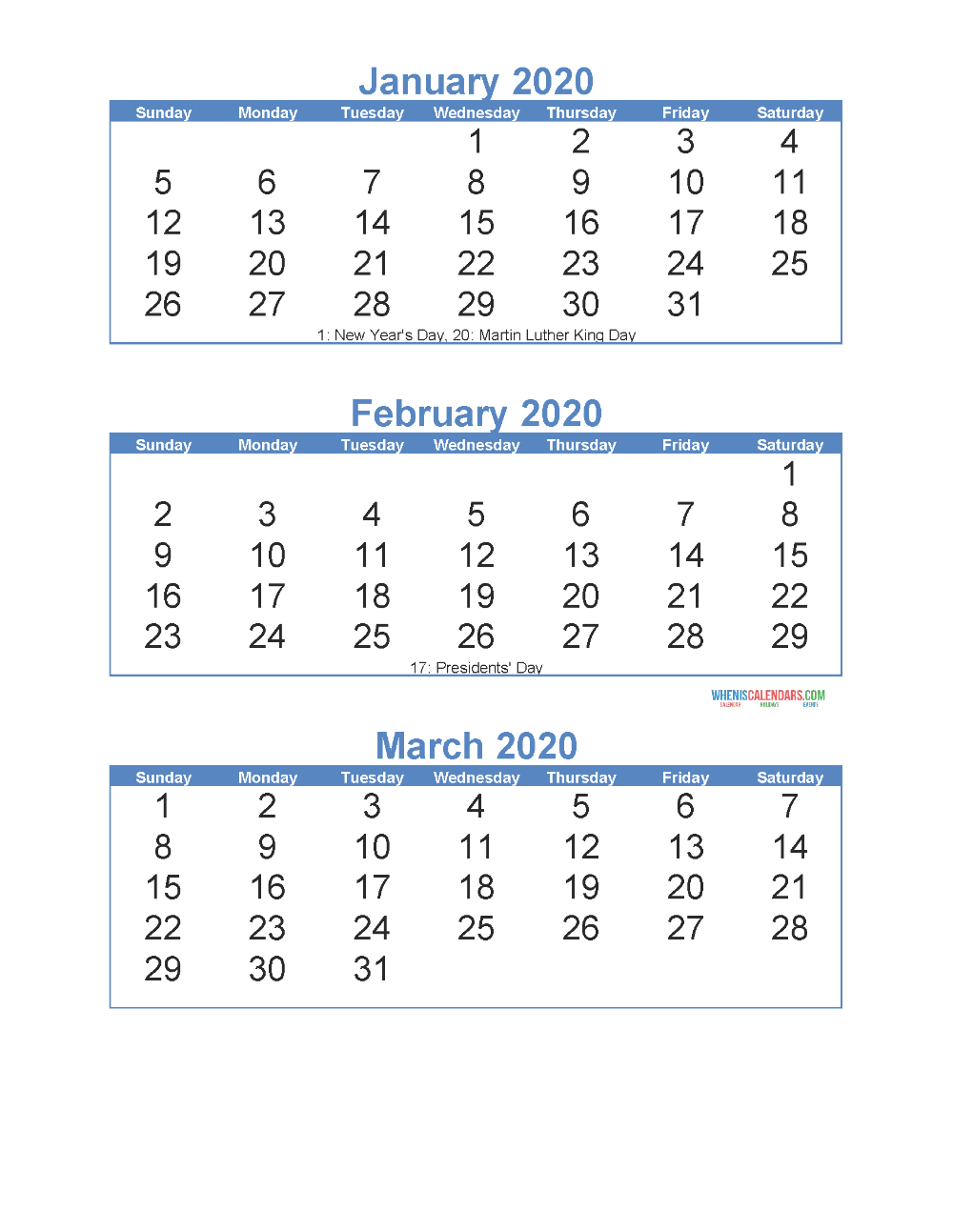 Free Printable 3 Month Calendar 2020 January February March with 3 Month Calendar Printable 2020