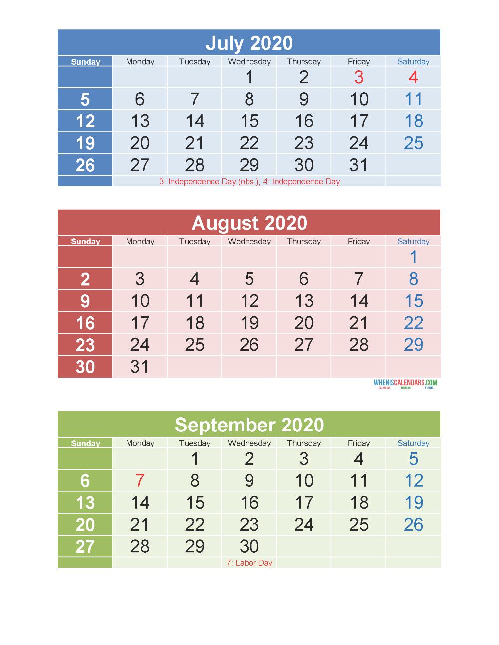 Free Printable 3 Month Calendar 2020 July August September inside 3 Month Printable Calendar 2020