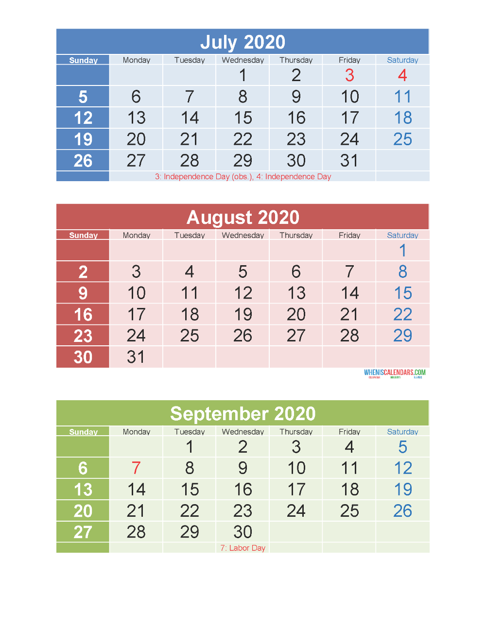 Free Printable 3 Month Calendar 2020 July August September with 3 Month Calendar Printable 2020