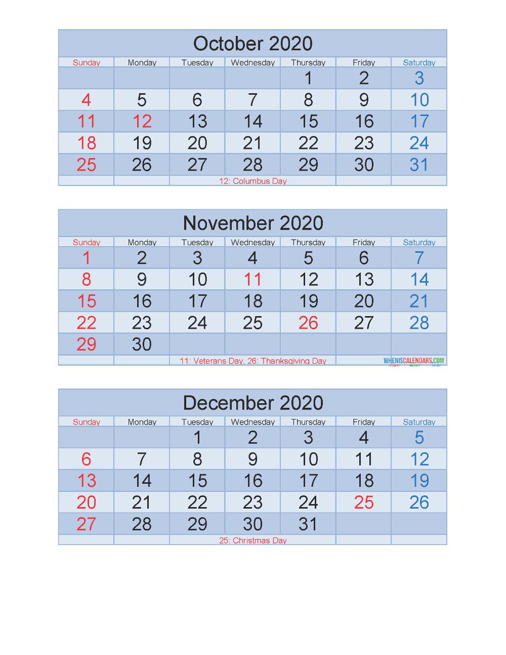 Free Printable 3 Month Calendar 2020 Oct Nov Dec Pdf, Excel pertaining to 3 Month Calendar 2020 Excel