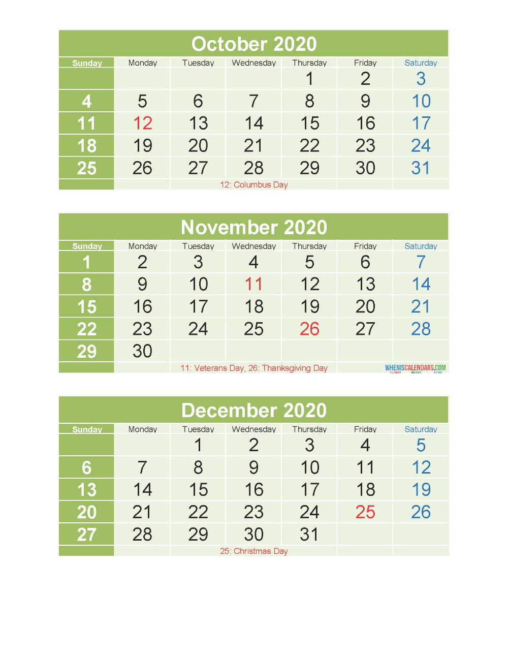 Free Printable 3 Month Calendar 2020 Oct Nov Dec Pdf, Excel throughout 3 Month Calendar 2020 Excel