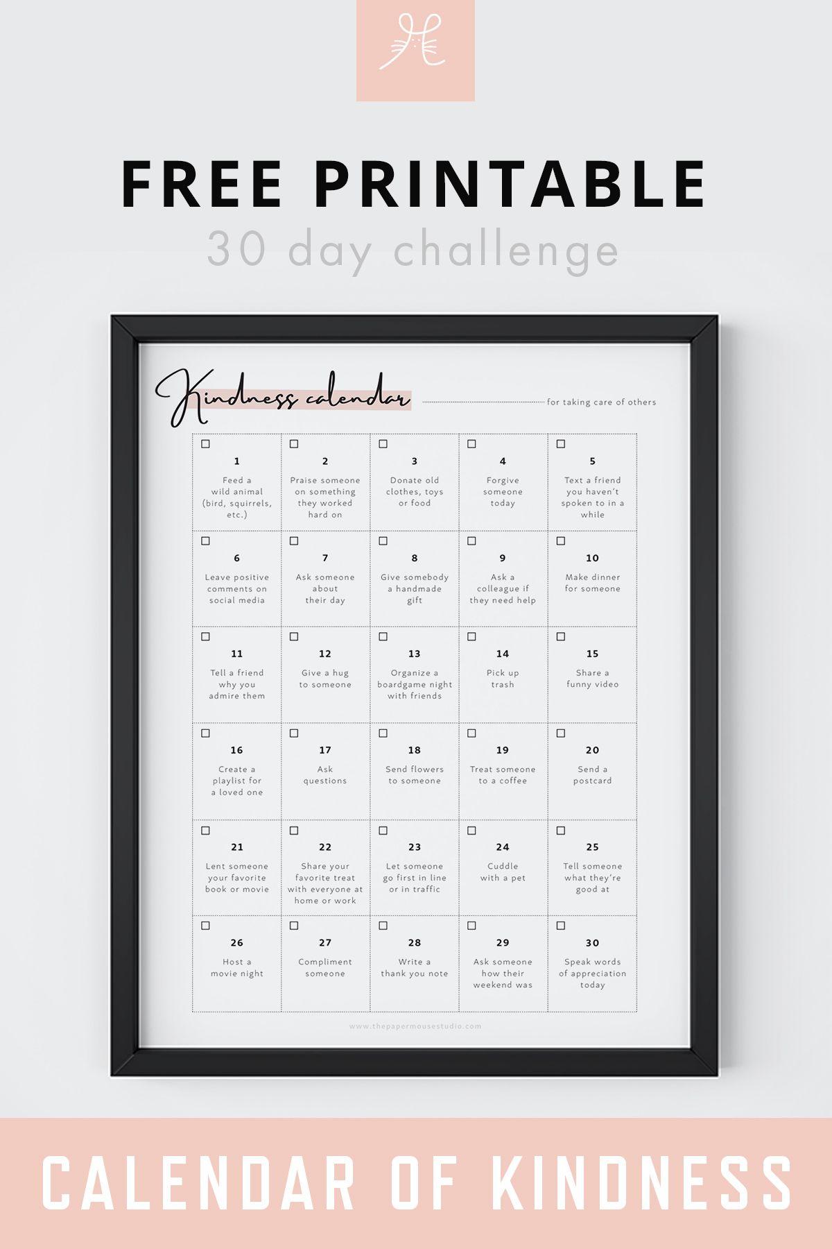 Free Printable 30 Day Challenge Calendar Of Kindness in Blank 30 Day Challenge Calendar