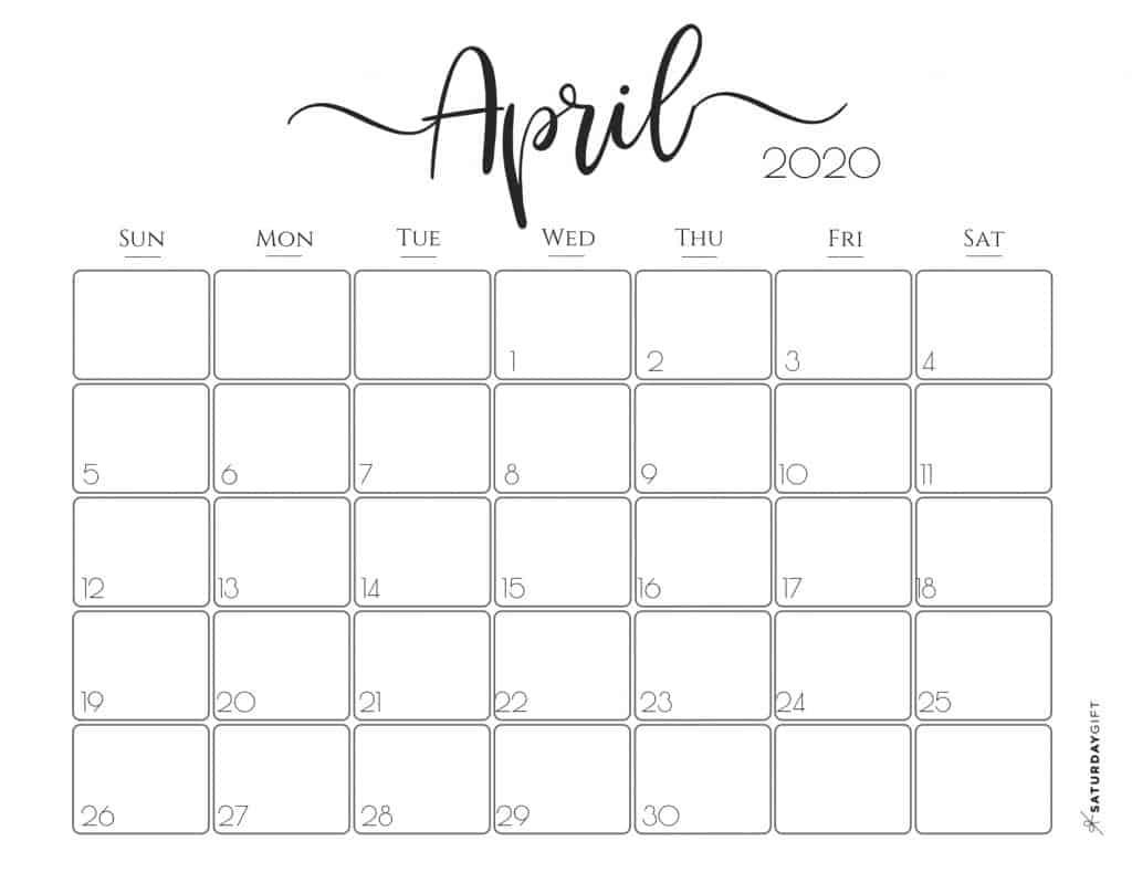 Free Printable April 2020 Calendar  Yatay.horizonconsulting.co within April 2020 Printable Calendar