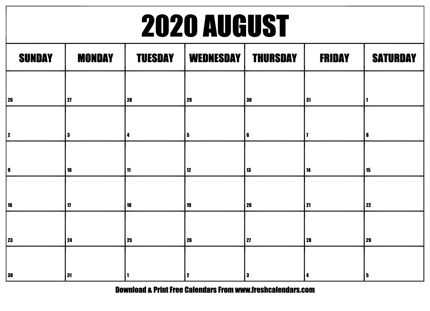 Free Printable August 2020 Calendar within Wincalendar July 2020