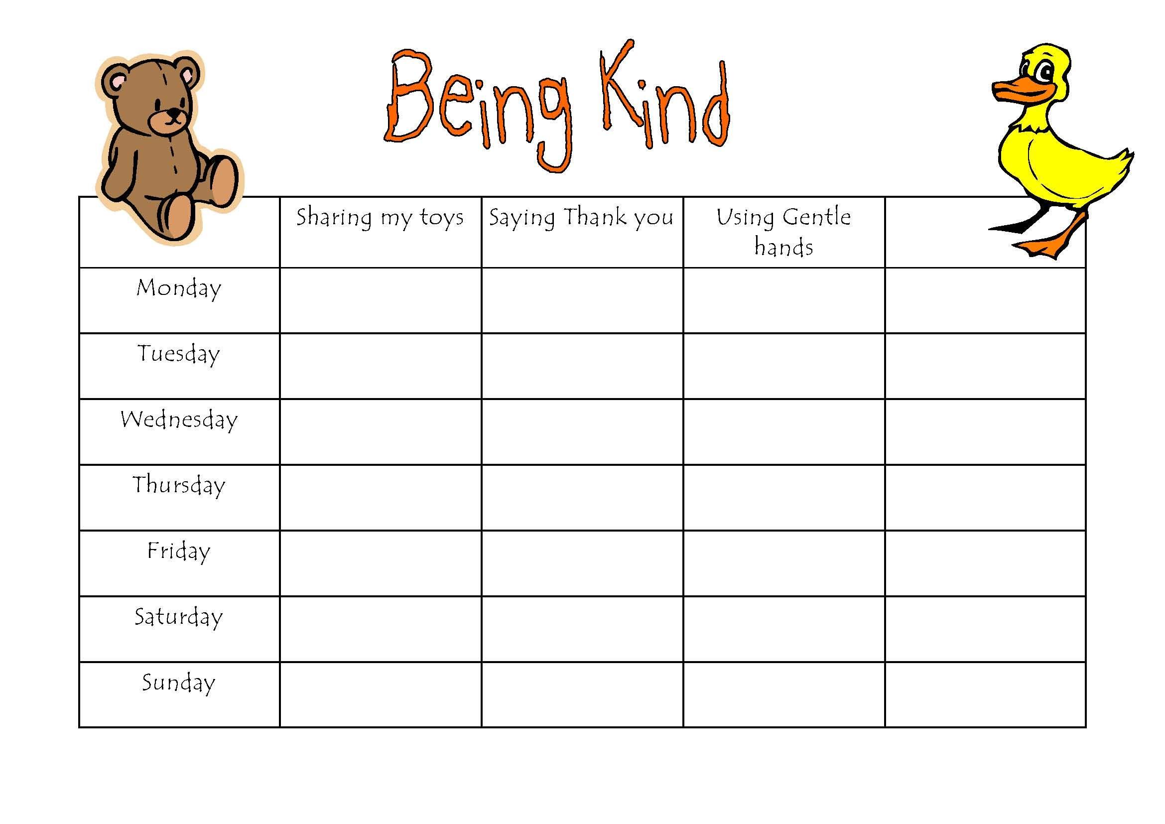 Free Printable Behavior Charts For Kindergarten  Zobi throughout Free Printable Behavior Charts For Kindergarten