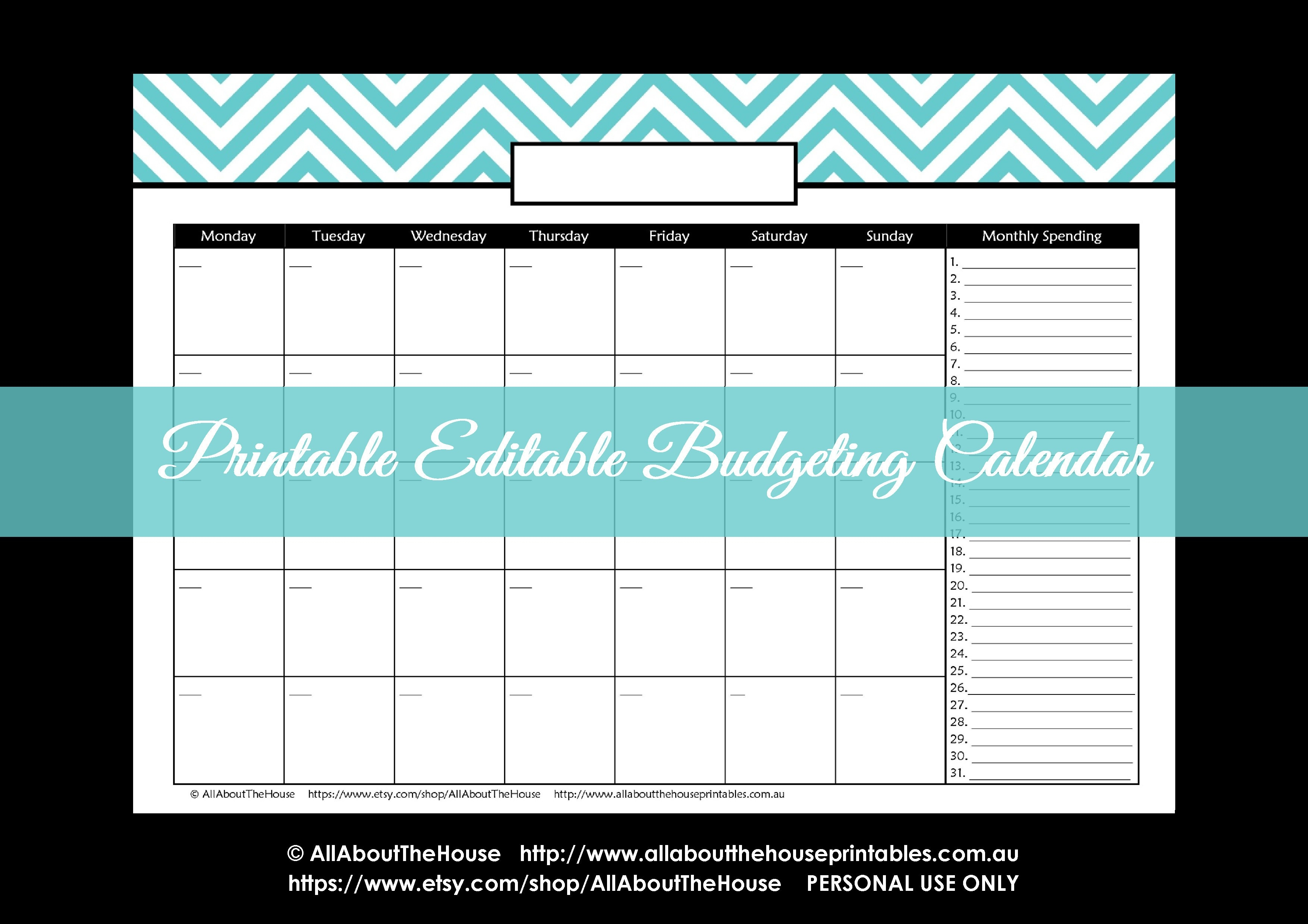Free Printable Bill Budget Calendar | Example Calendar Printable within Free Printable Bill Payment Calendar