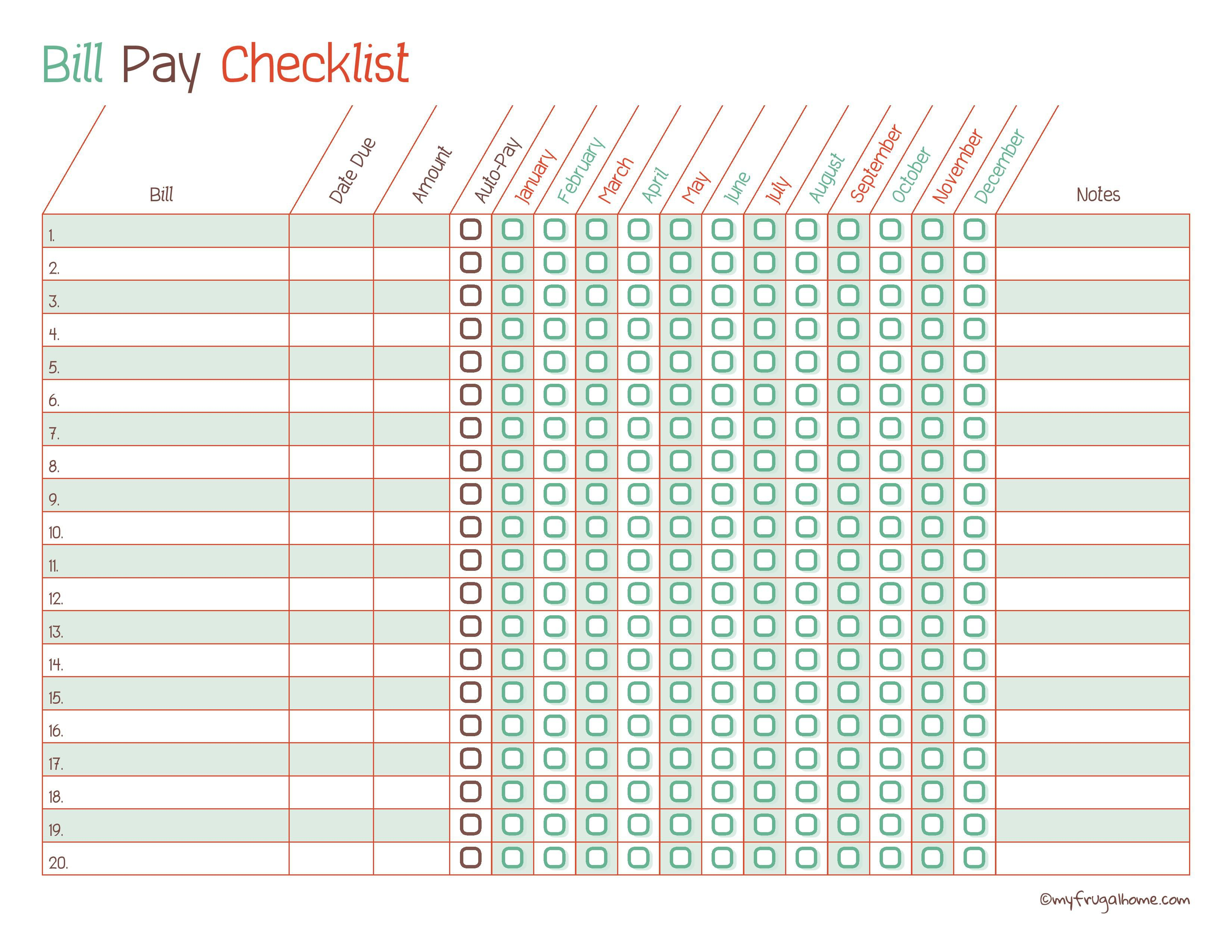 Free Printable Bill Pay Calendar Templates for Free Printable Monthly Bill Checklist