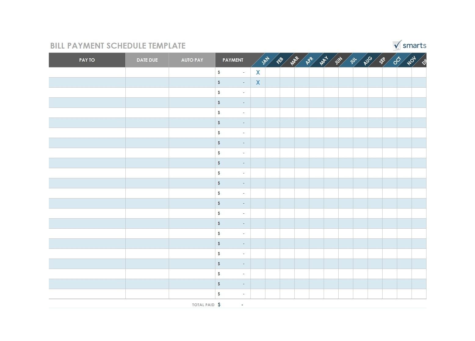 Free Printable Bill Payment Template  Calendar Inspiration intended for Free Printable Bill Payment Schedule