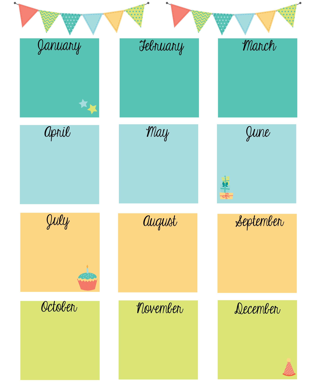 Free Printable Birthday Calendar | Birthday Calendar regarding Classroom Birthday Calendar Template