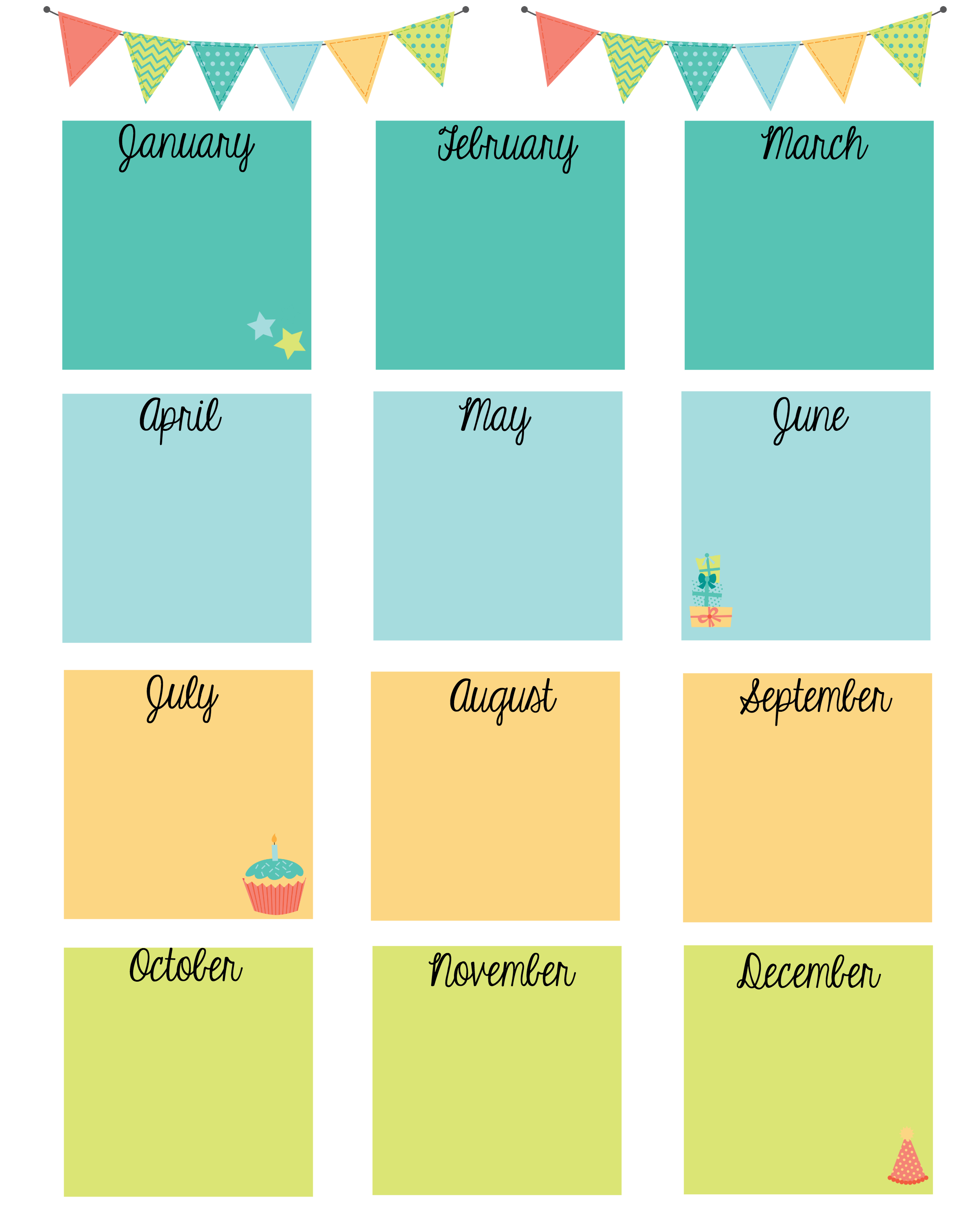 Free Printable Birthday Calendar | Birthday Calendar throughout Free Printable Birthday Chart