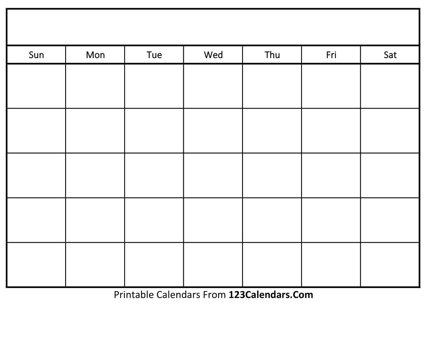 Free Printable Blank Calendar | 123Calendars pertaining to Blank Monthly Calender
