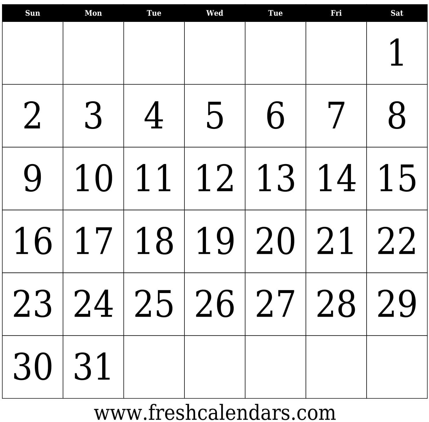 Free Printable Blank Calendar 2020 inside Blank 31 Day Calendar