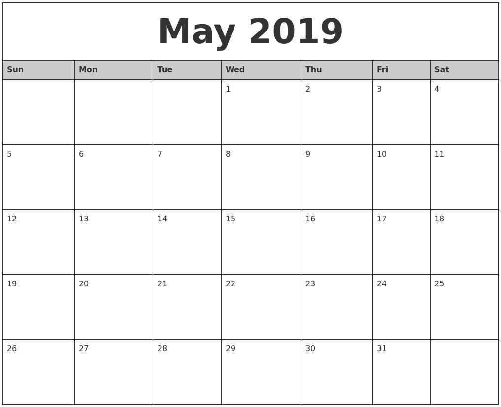 Free Printable Calendar 2018: 2019 Editable Word, Excel in Blank Calendar Template Word