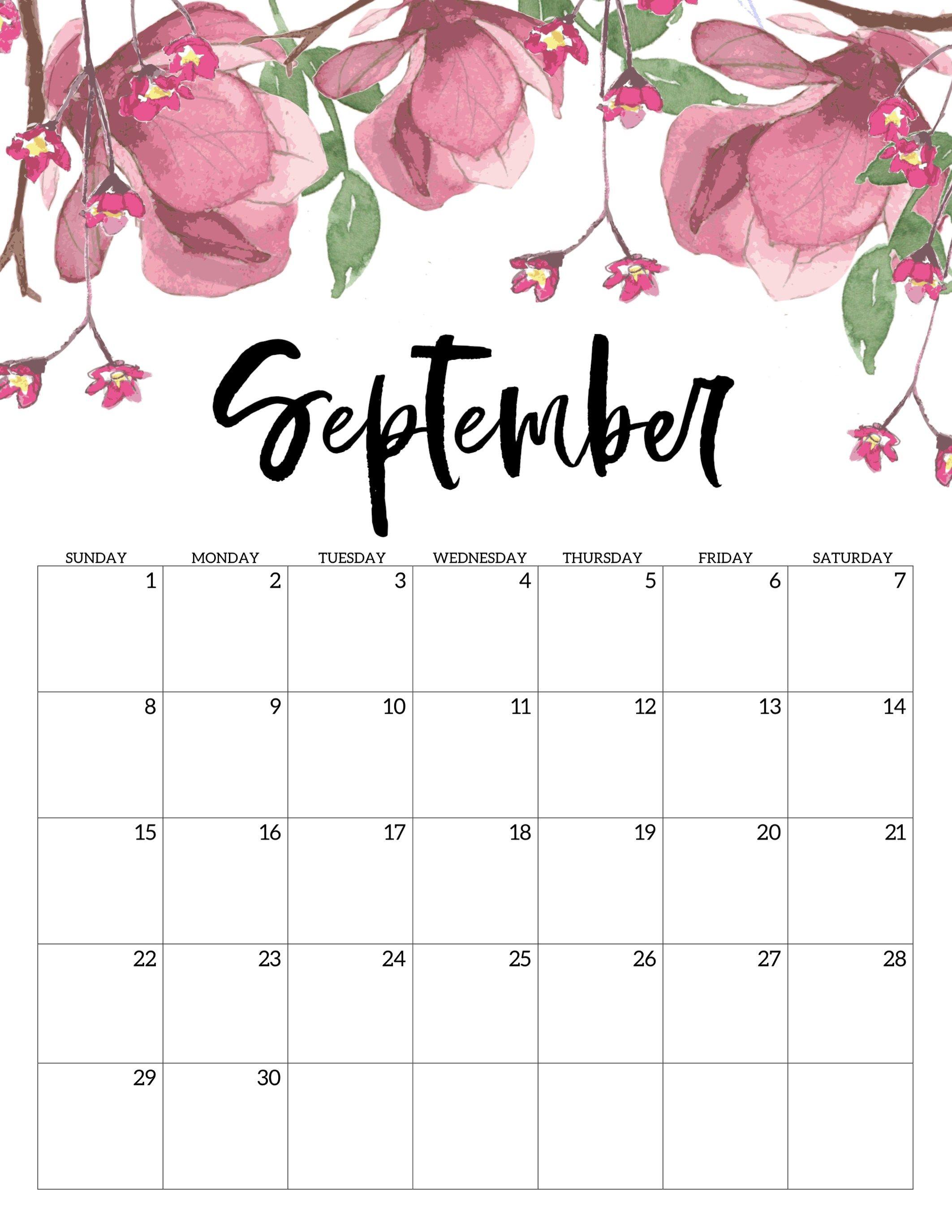 Free Printable Calendar 2019  Floral | Еженедельный with regard to Kalendar Kuda September 2020