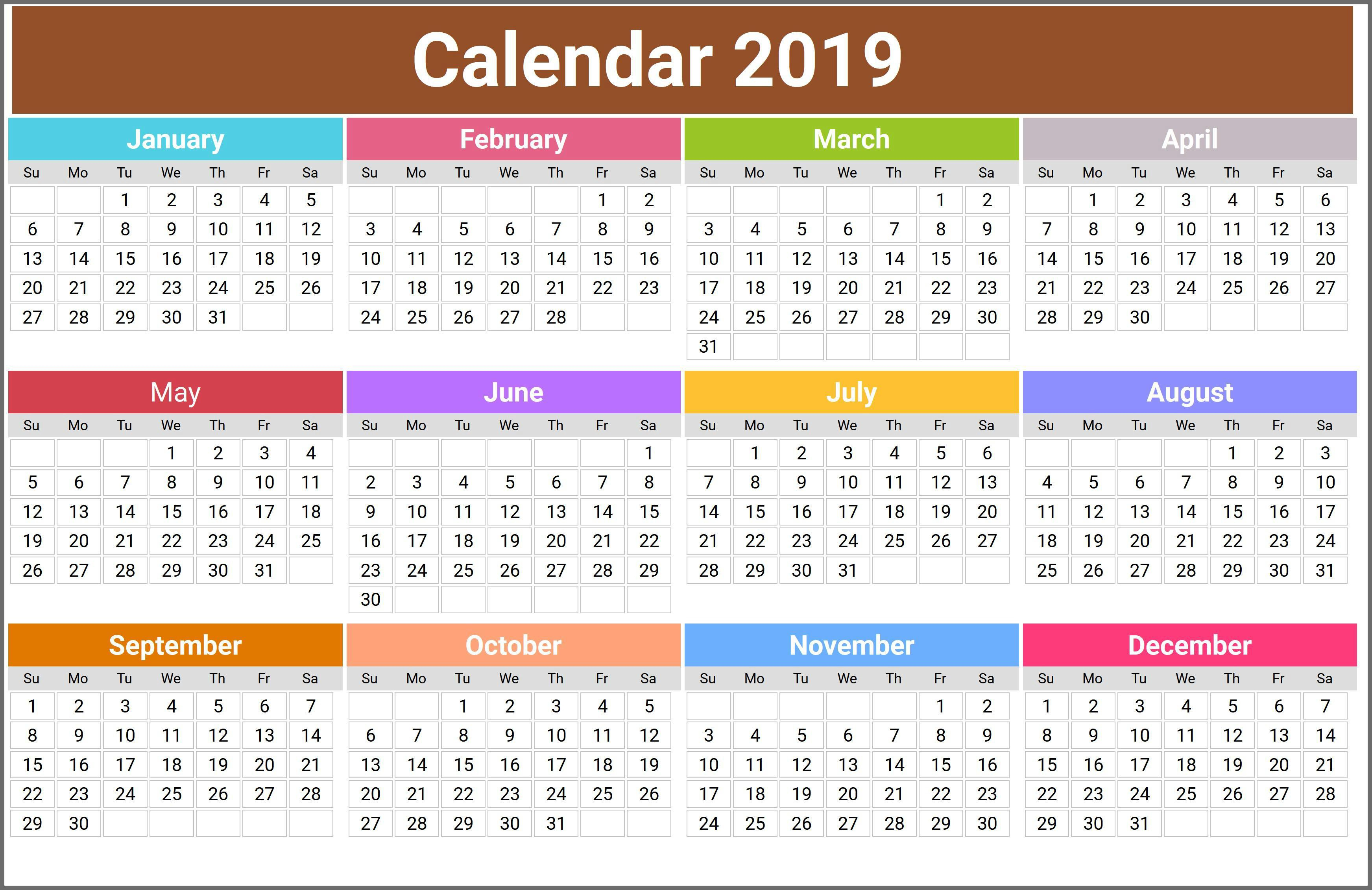Free Printable Calendar 2019 : Usa, Uk, India, Canada with regard to Max 30 Calendar Pdf