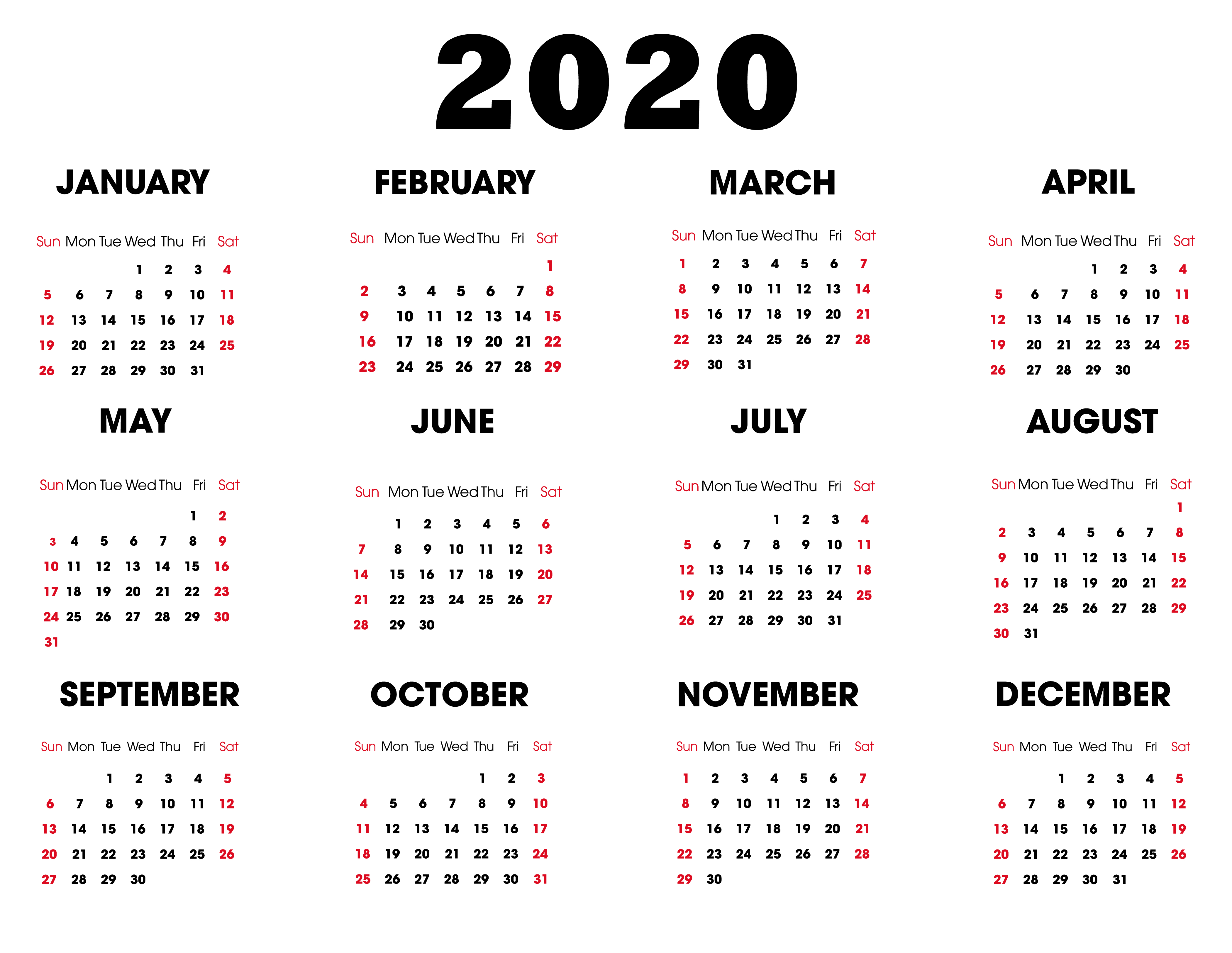 Free Printable Calendar 2020 : 12 Month Calendar With intended for Printable 2020 Calander