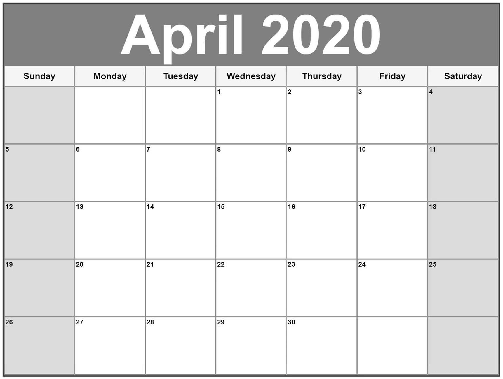 Free Printable Calendar 2020 | Calendar Shelter regarding Calendar With Large Squares