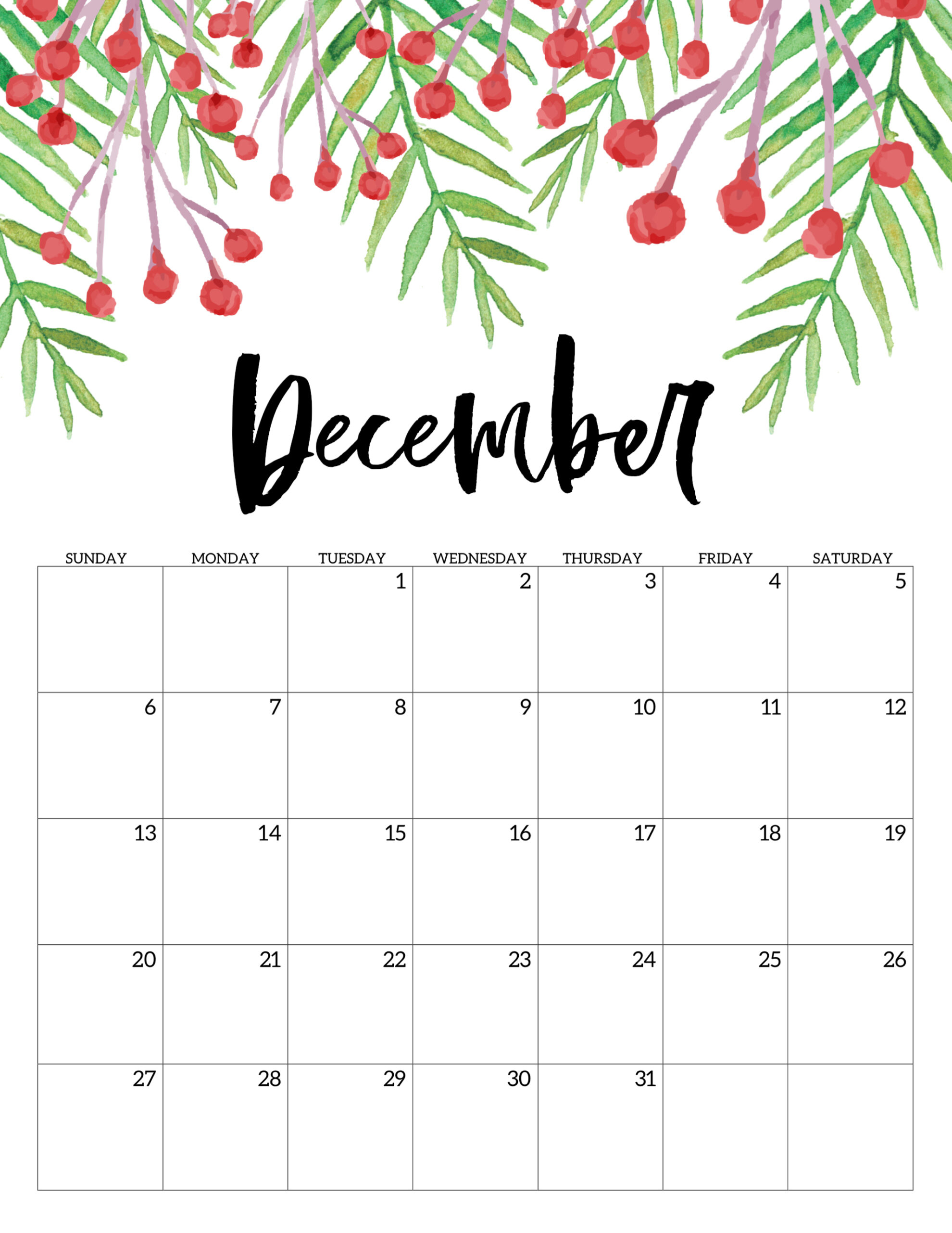 Free Printable Calendar 2020  Floral  Paper Trail Design in December Calendar 2020 Pinterest