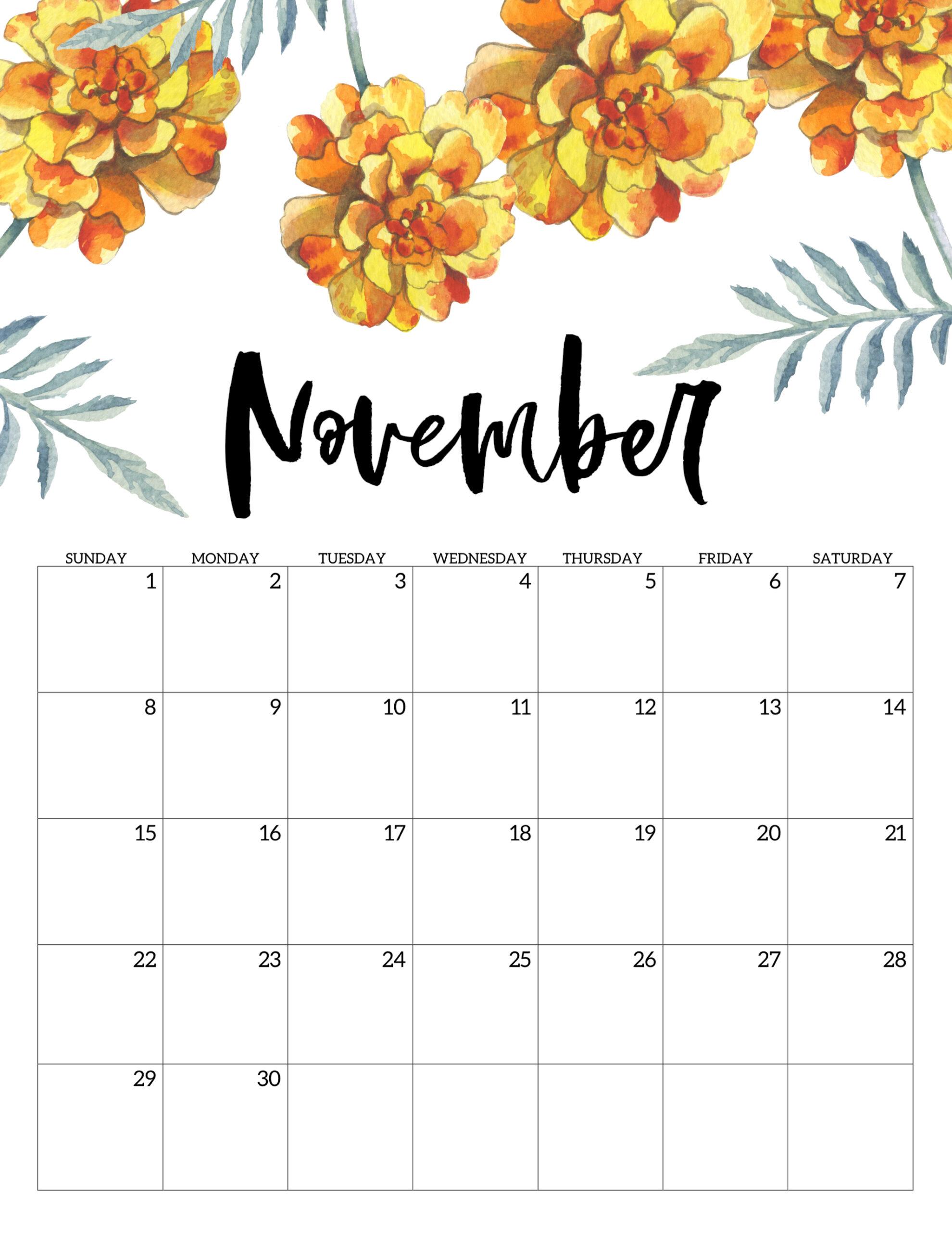 Free Printable Calendar 2020  Floral  Paper Trail Design with regard to December Calendar 2020 Pinterest