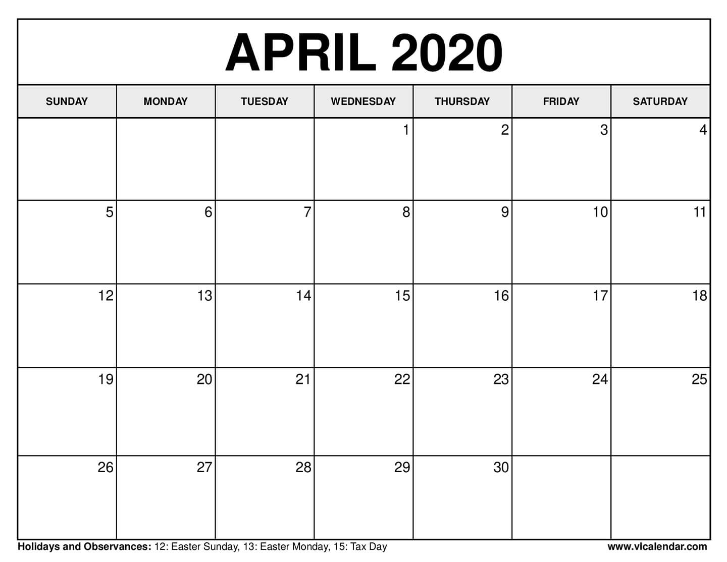 Free Printable Calendar For April 2020 within Free Printable April 2020 Calendar