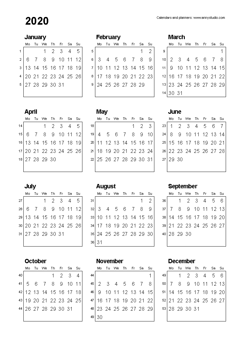 Free Printable Calendars And Planners 2020, 2021, 2022 with Printable 2020 Calendar Starting Monday