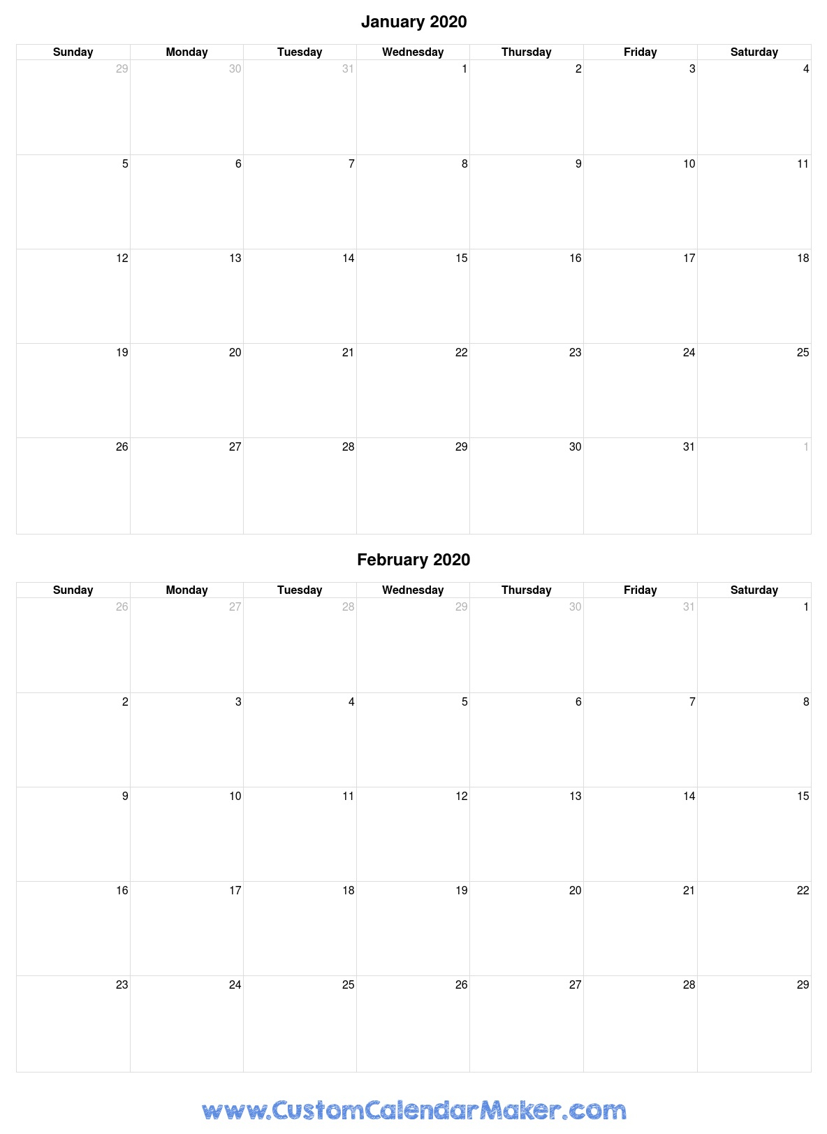 Free Printable Calendars, Blank Pdf Templates To Print A throughout Blank 2 Month Calendar