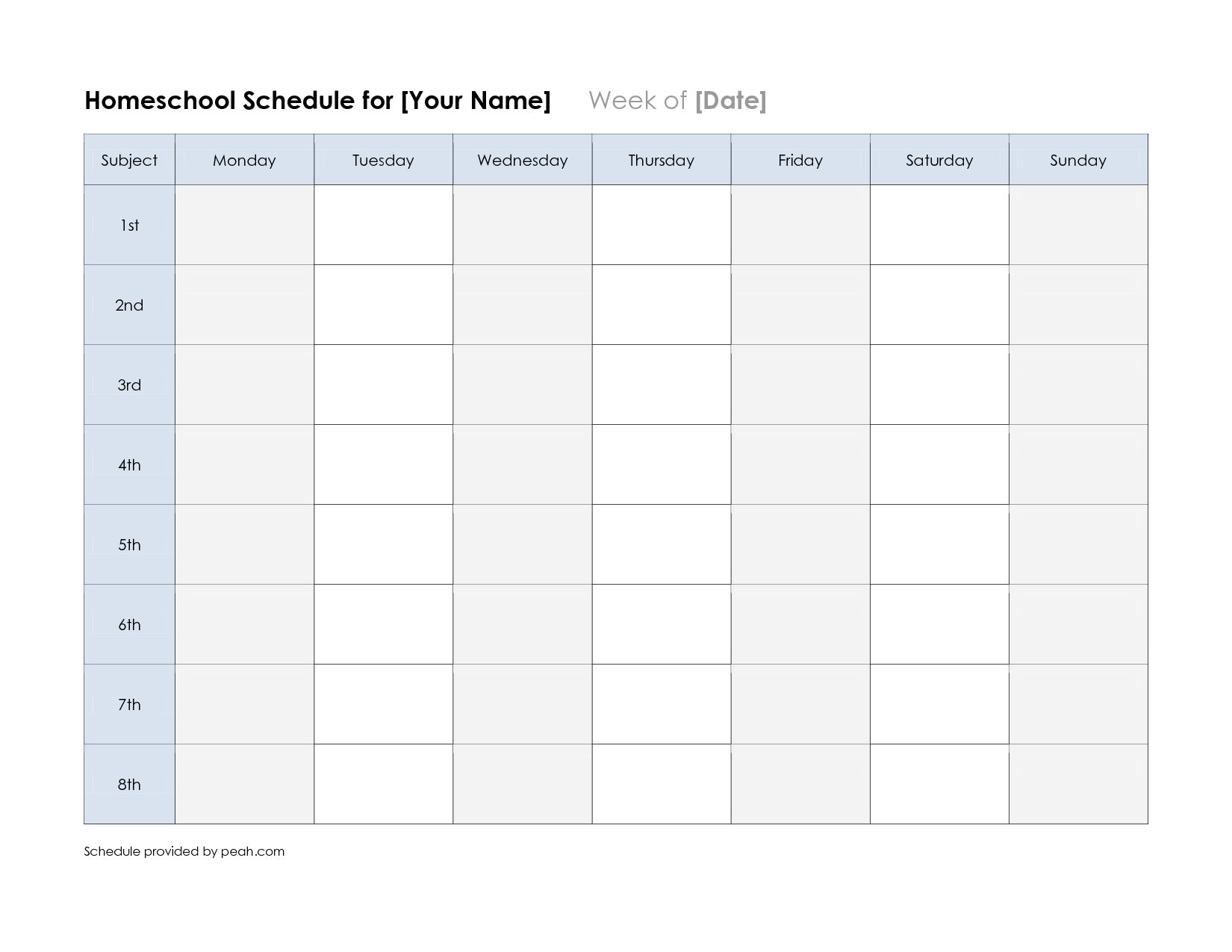 Free Printable Class Schedule Template | Printable Weekly with regard to Monday Through Saturday Schedule Template