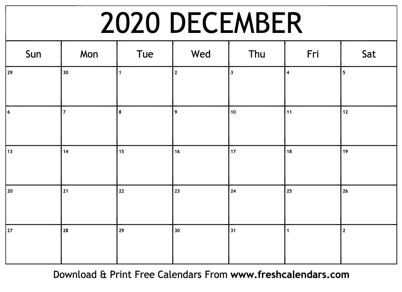 Free Printable December 2020 Calendar inside 123 Calendars December 2020