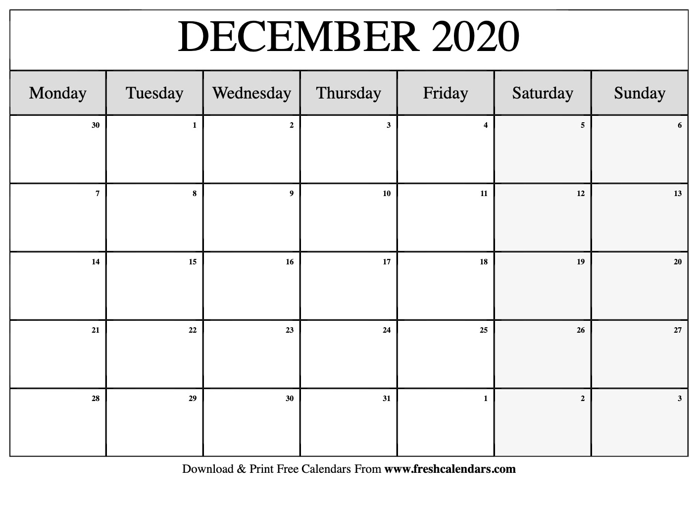 Free Printable December 2020 Calendar throughout Printable 2020 Calendar Starting Monday