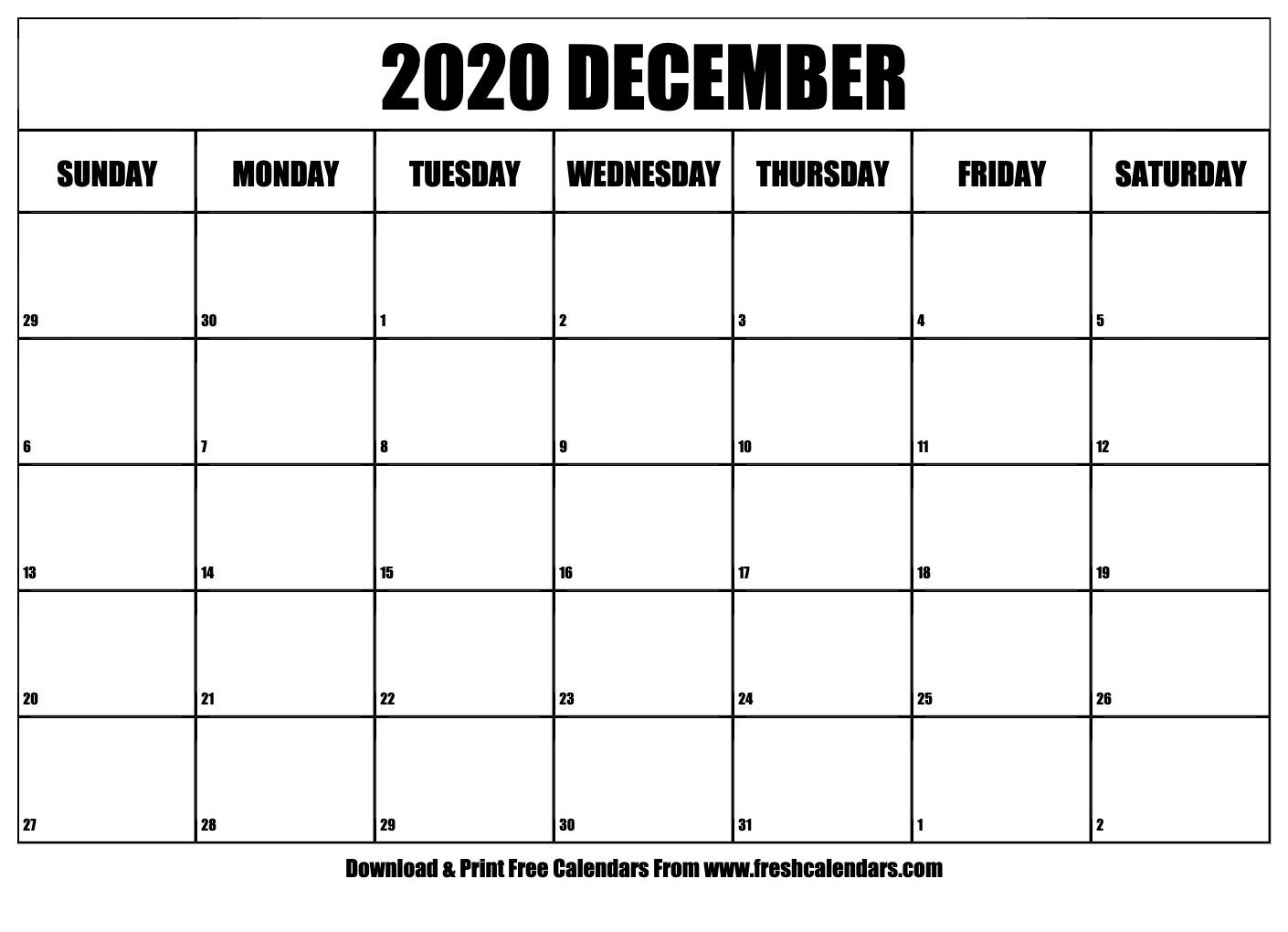Free Printable December 2020 Calendar with 123 Calendars December 2020