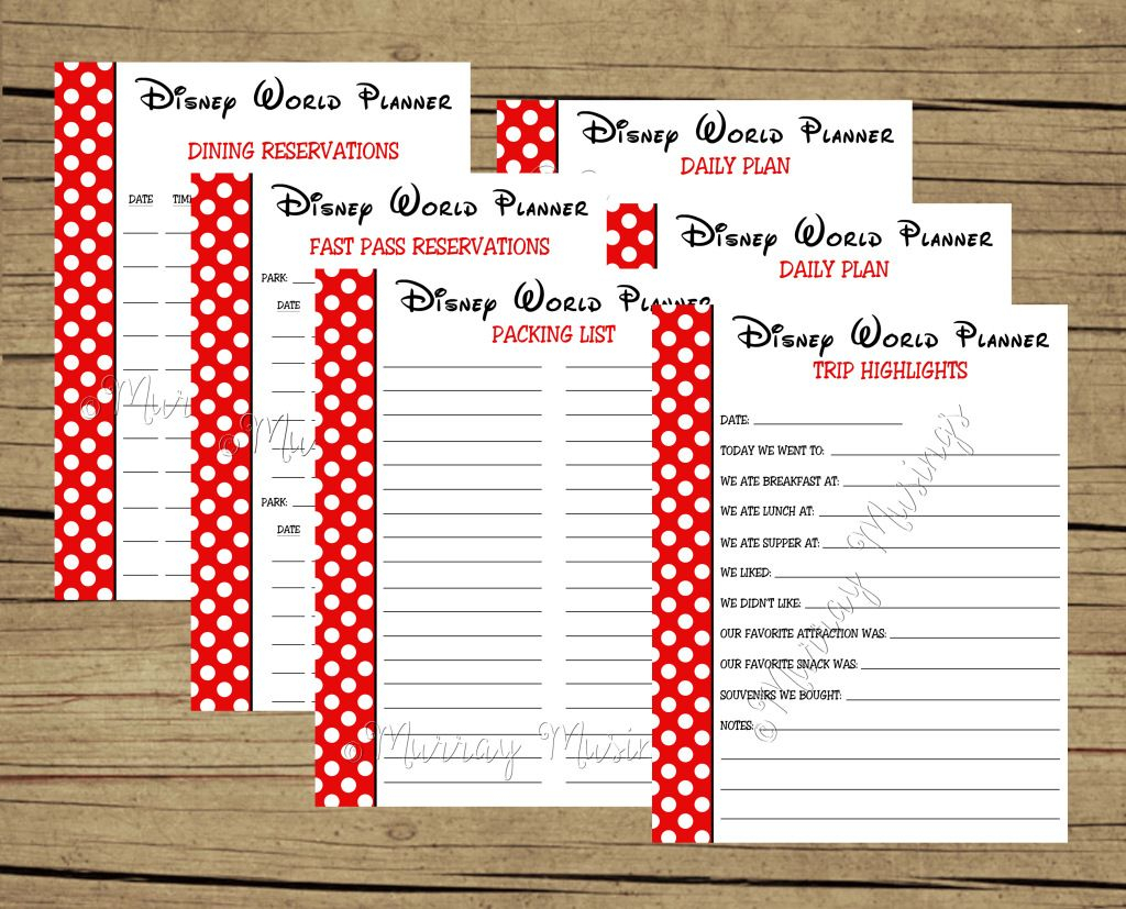 Free Printable Disney World Vacation Planner #freeprintable inside Disney Vacation Planner Template