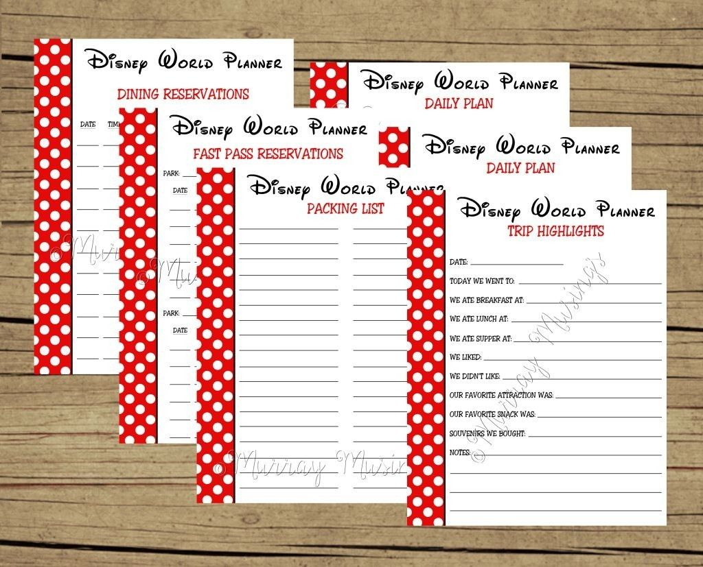 Free Printable Disney World Vacation Planner #freeprintable with Disney World Itinerary Template