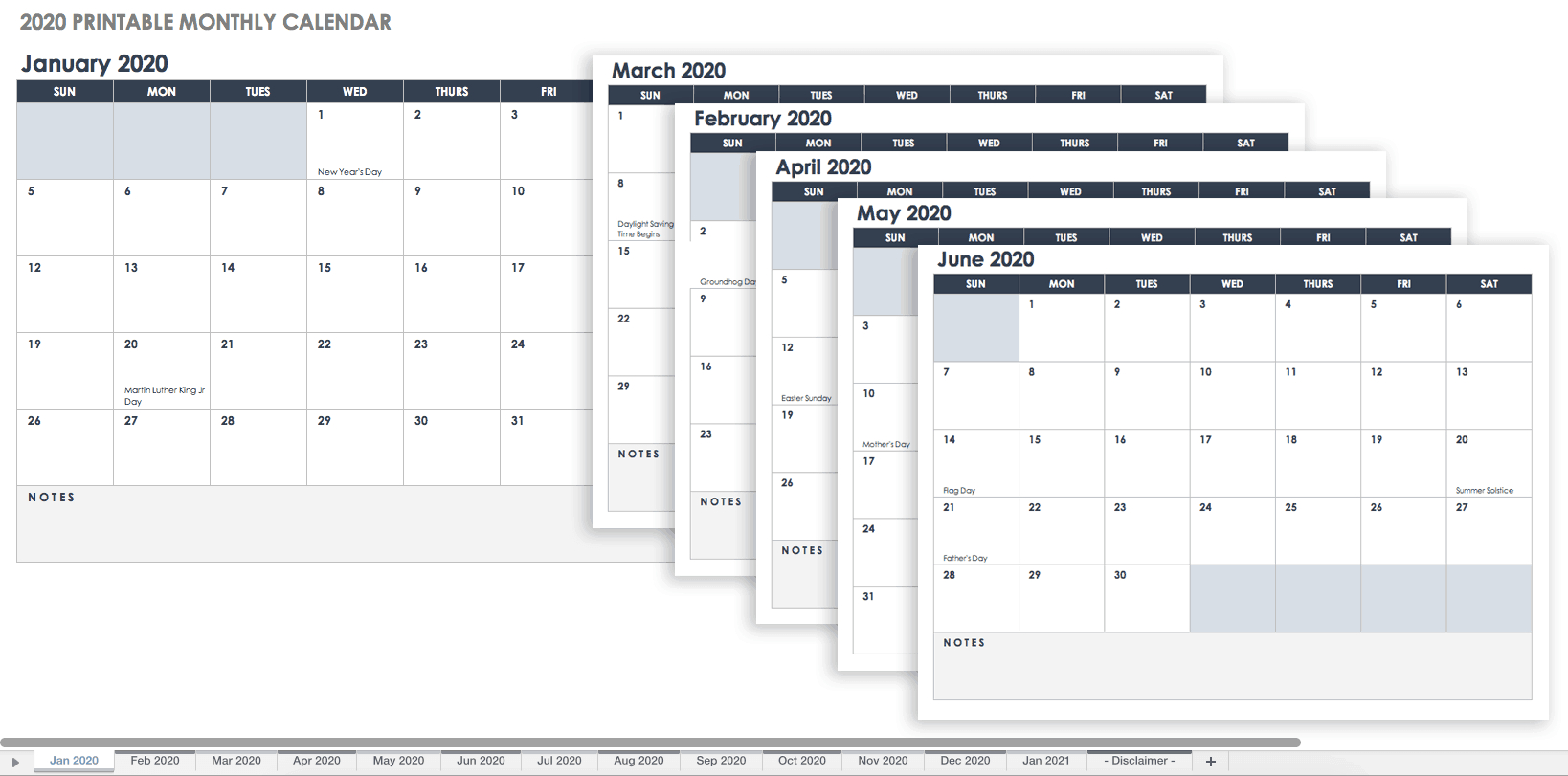 Free, Printable Excel Calendar Templates For 2019 & On throughout Calendar Template With Lines