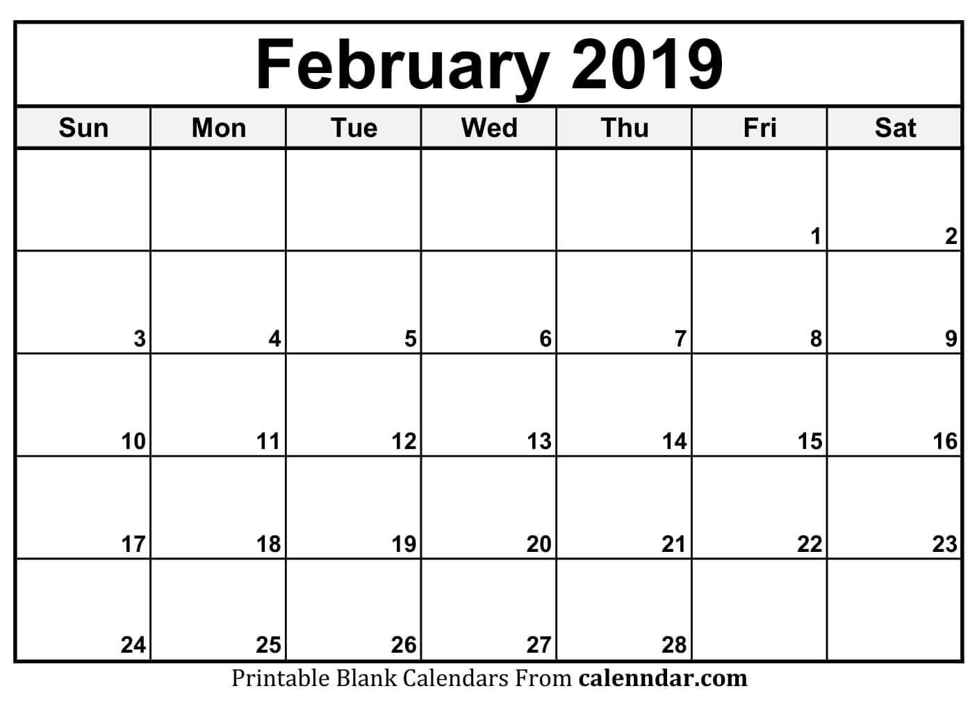 Free Printable Feb 2019 Calendar | Blank Calendar Template with regard to Free Monthly Calendars That Can Be Edited