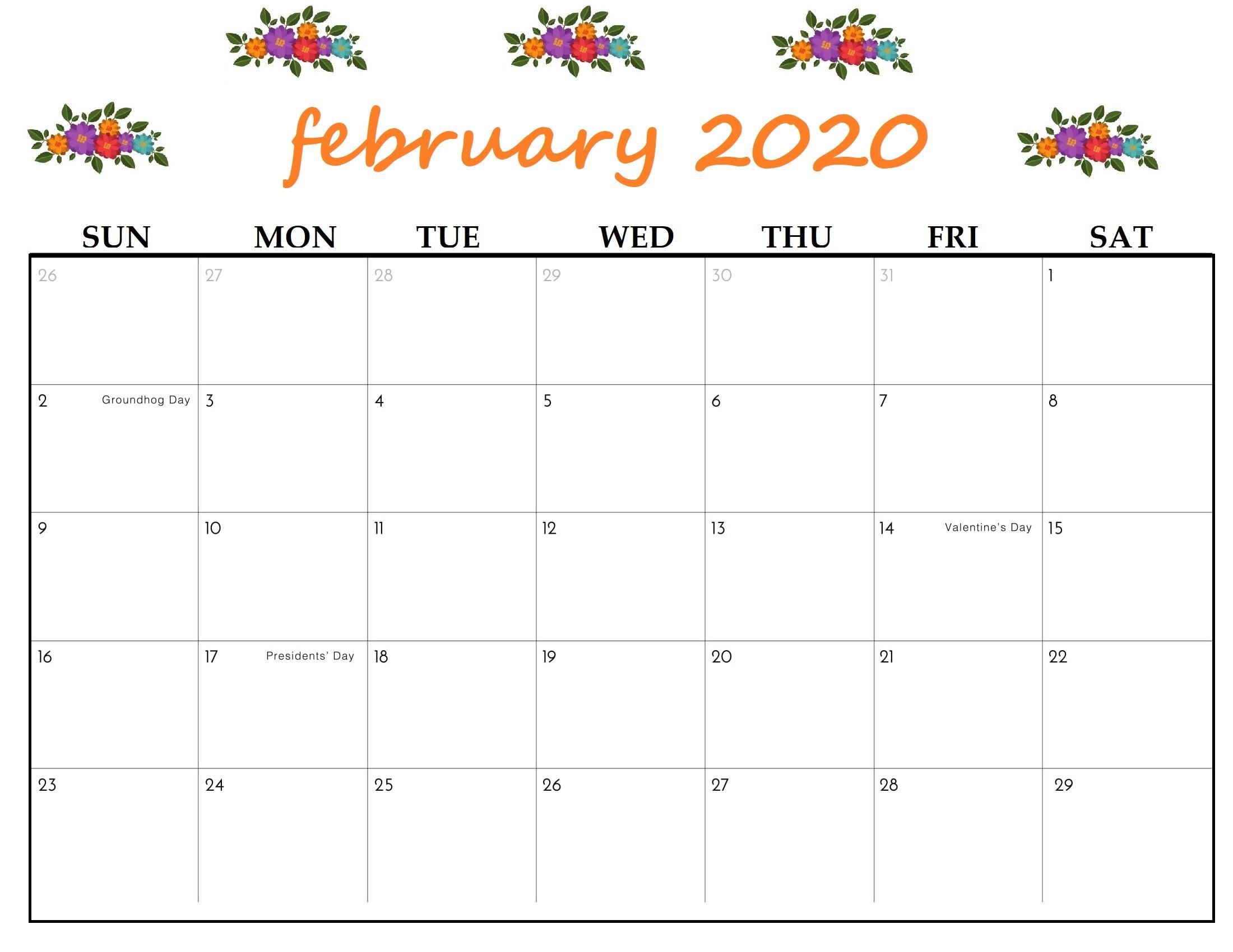 Free Printable February 2020 Calendar  Calendarkart intended for Feb 2020 Calendar