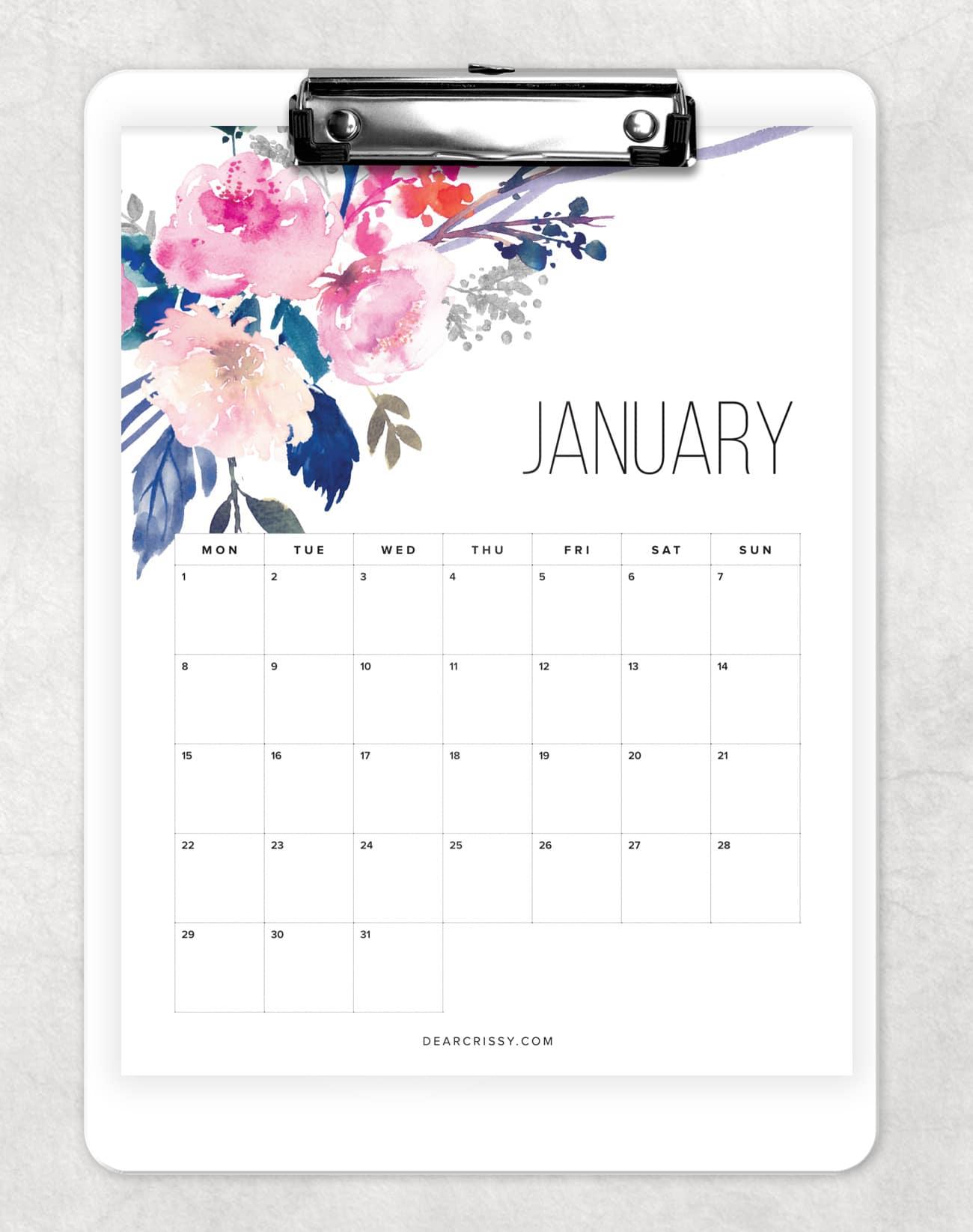 Free Printable Floral Calendar 2018  Pretty Free Desk Calendar inside Pretty Printable Calendar
