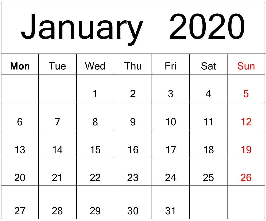 Free Printable January 2020 Calendar Google Sheets – Free inside Google Calendar Template 2020