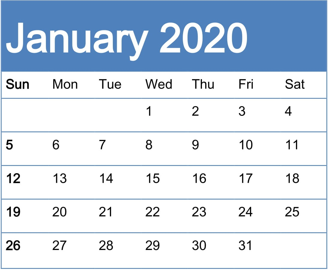 Free Printable January 2020 Calendar Pdf Template  Latest pertaining to Calendar Maker Free Printable