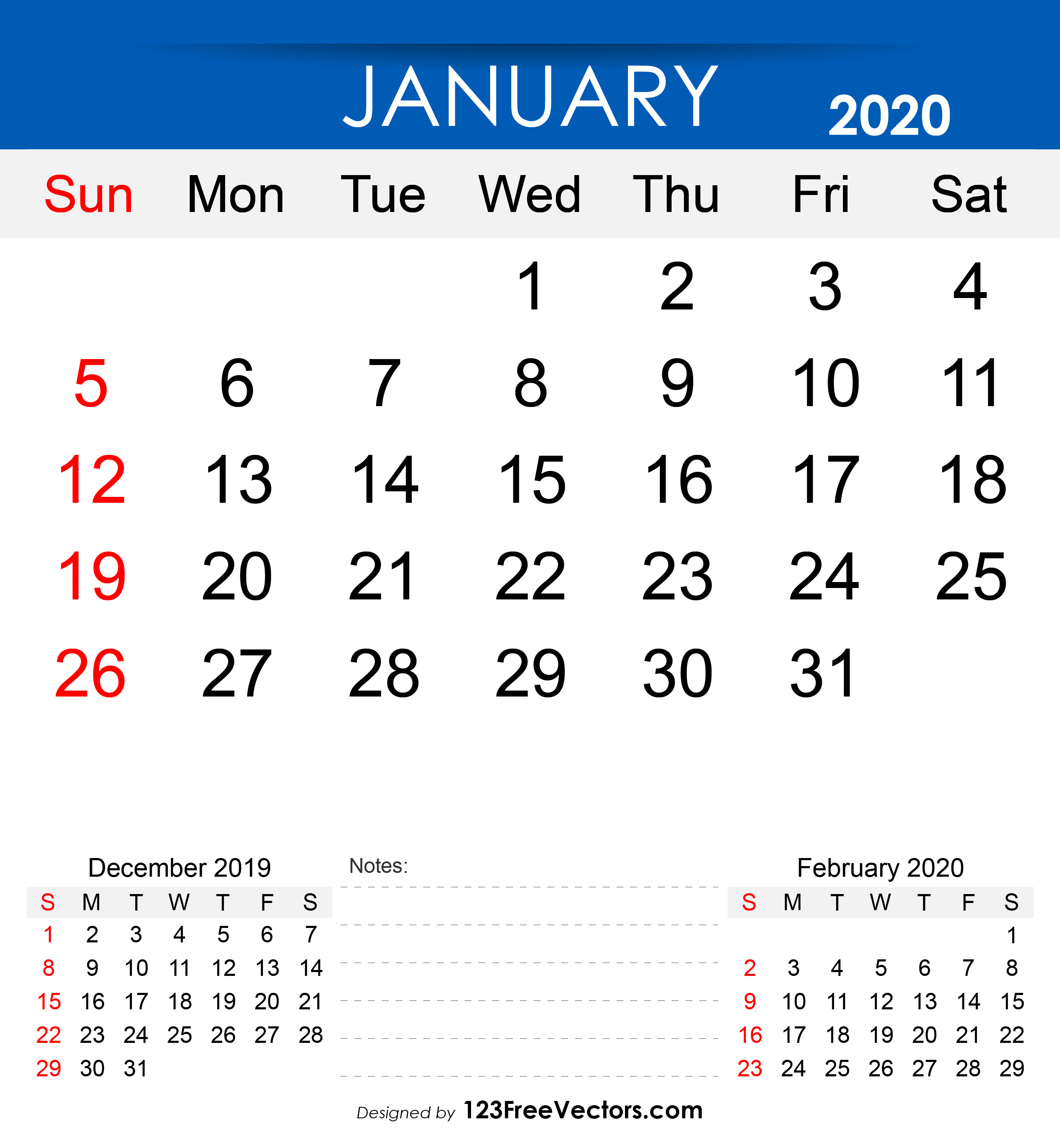 Free Printable January 2020 Calendar throughout 123 Calendar January 2020