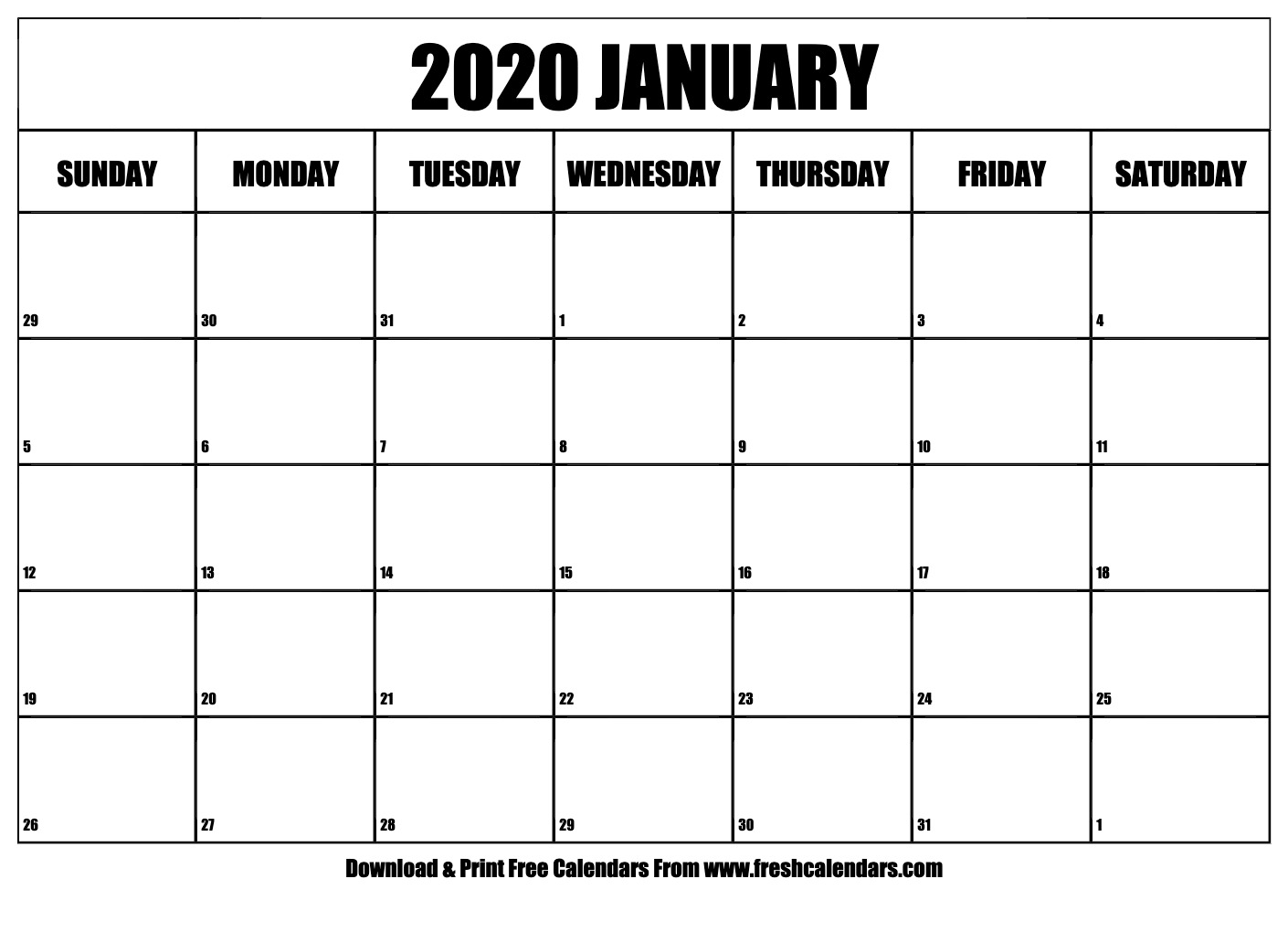 Free Printable January 2020 Calendar within January 2020 Waterproof Calendar