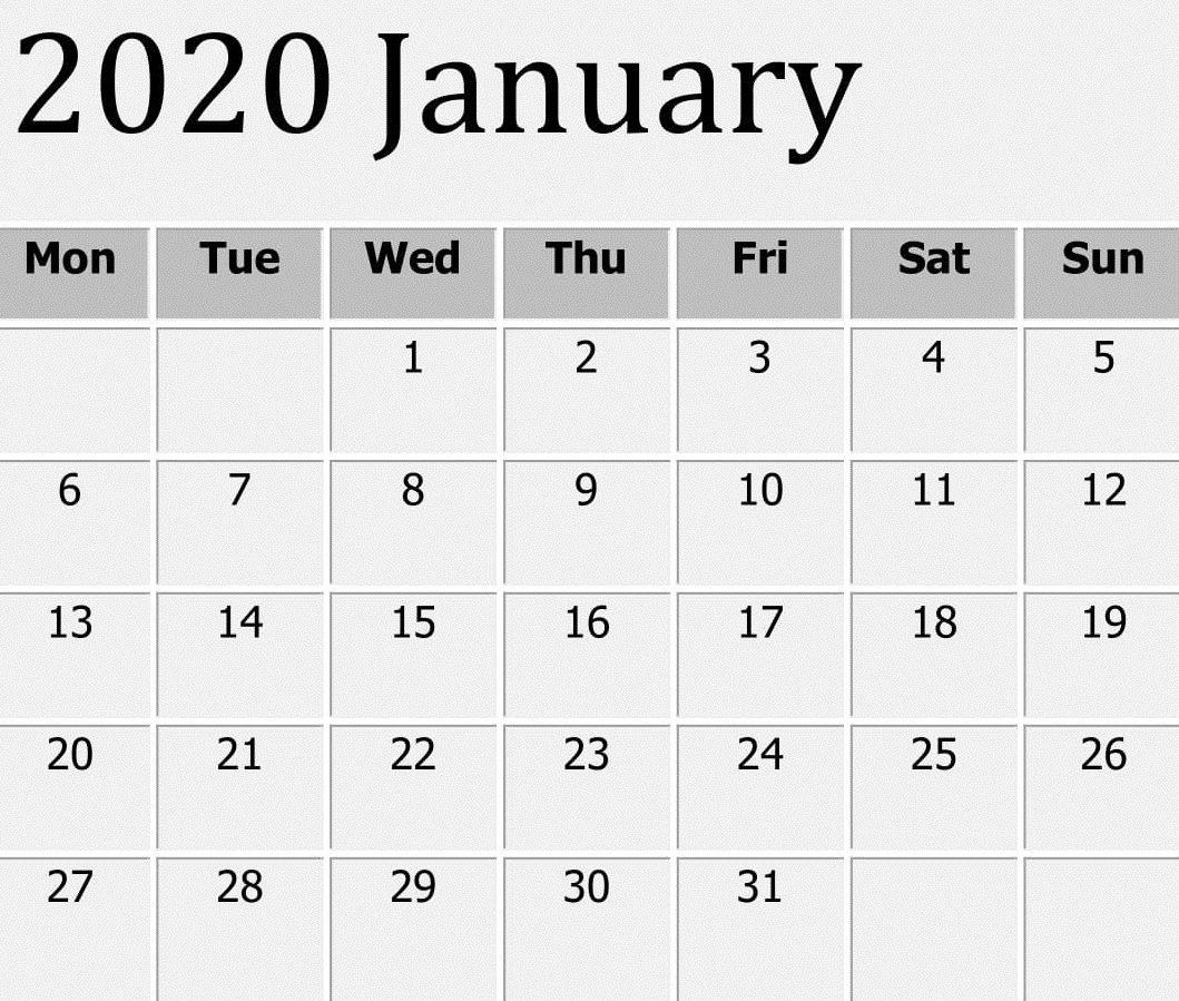Free Printable January 2020 Calendar Word Template – Free within Word Calendar Template 2020