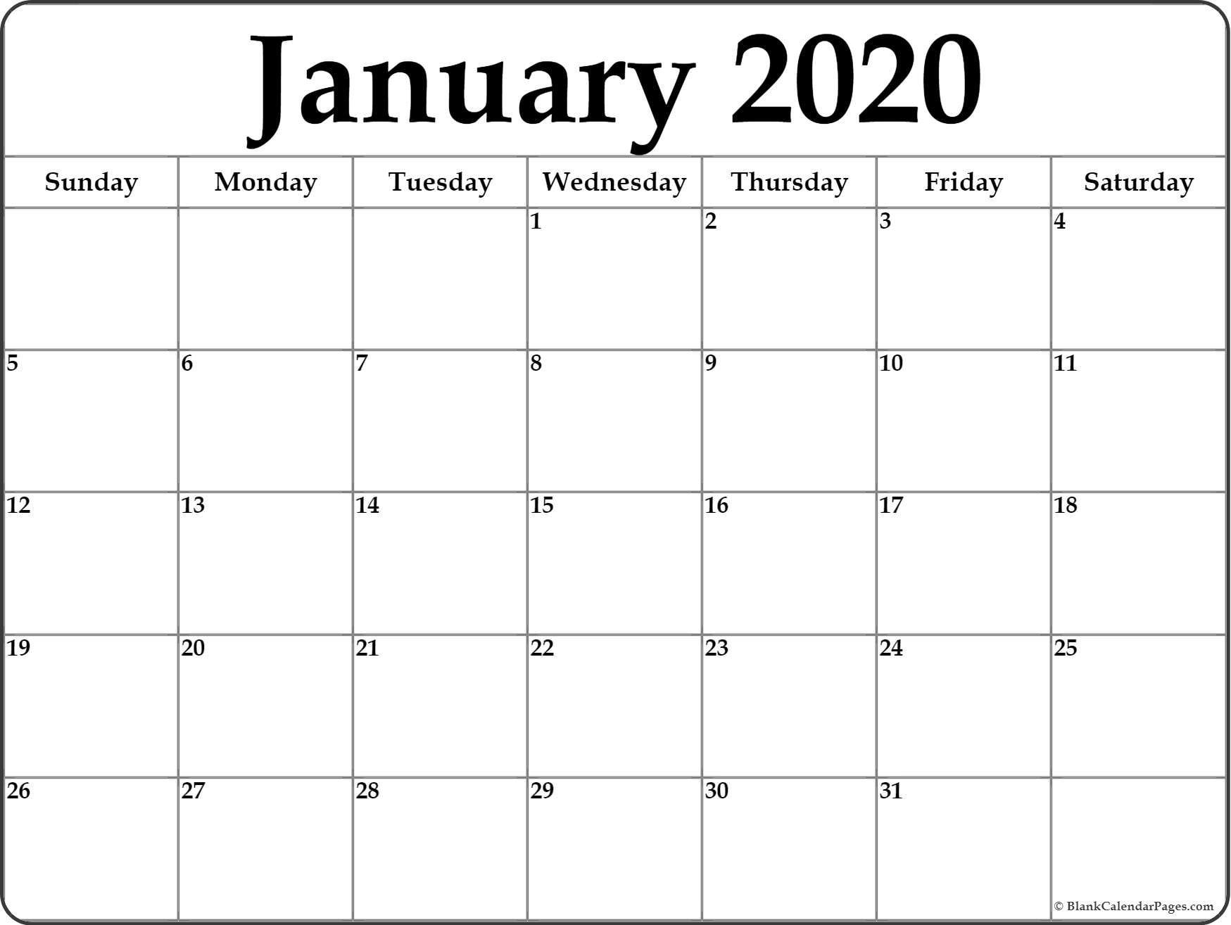 Free Printable January 2020 Calendars  Yatay within 2020 Blank Calendar Pages