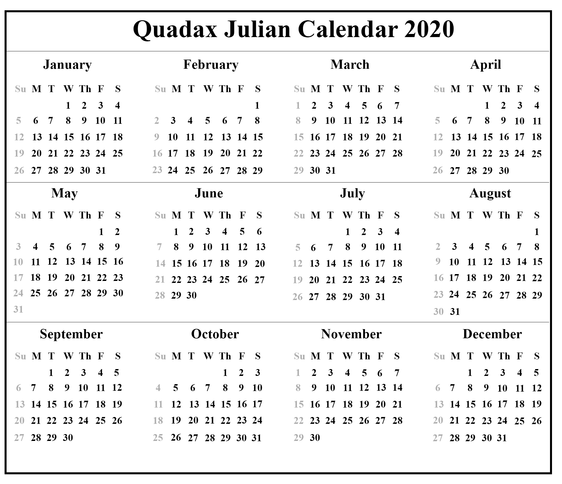 Free Printable Julian Calendar 2020 Template | Printable intended for Julian Calendar Pdf