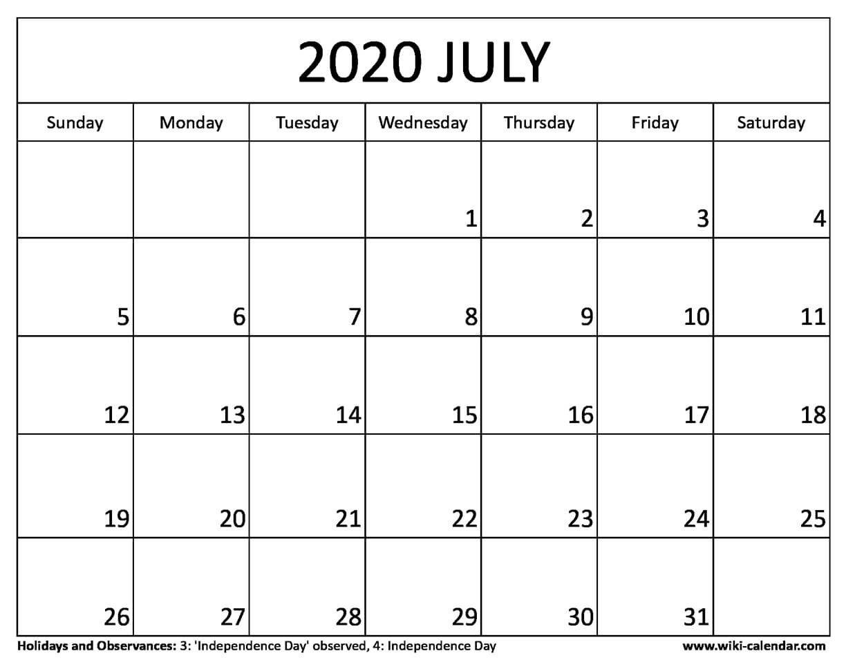 Free Printable July 2020 Calendar – Example Calendar Printable intended for Julian Calendar Quadax 2020