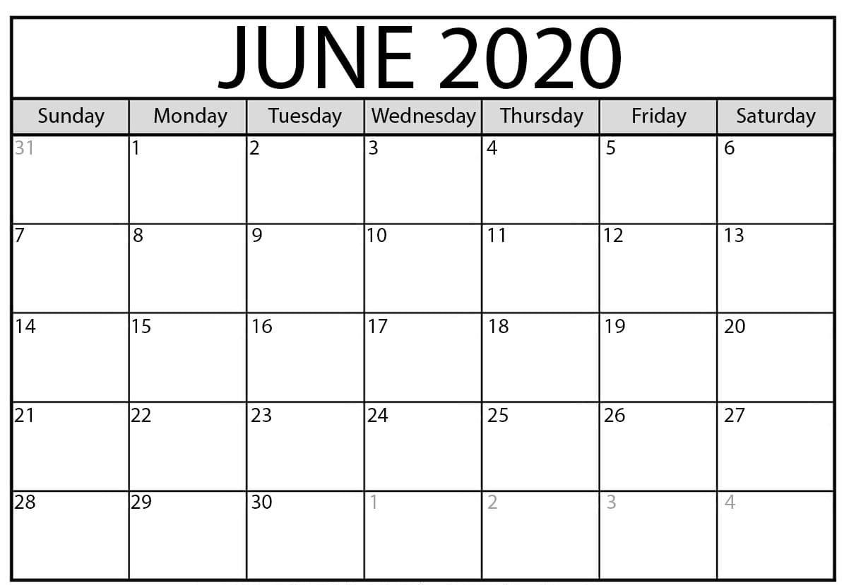 Free Printable June 2020 Calendar Templates With Notes pertaining to Printable June 2020 Calendar