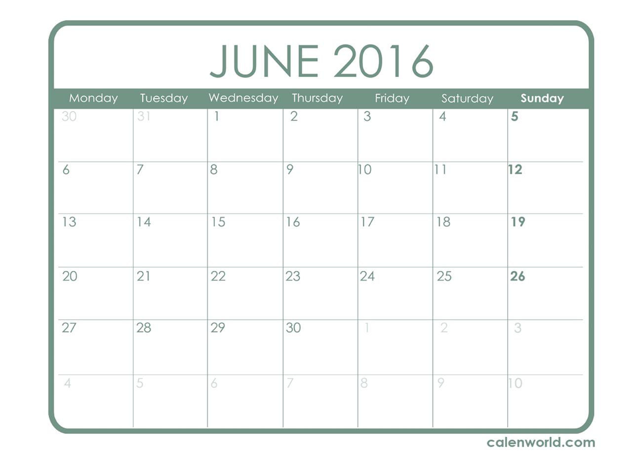 Free Printable June Calendar | Calendars with regard to June 2016 Calendar Printable