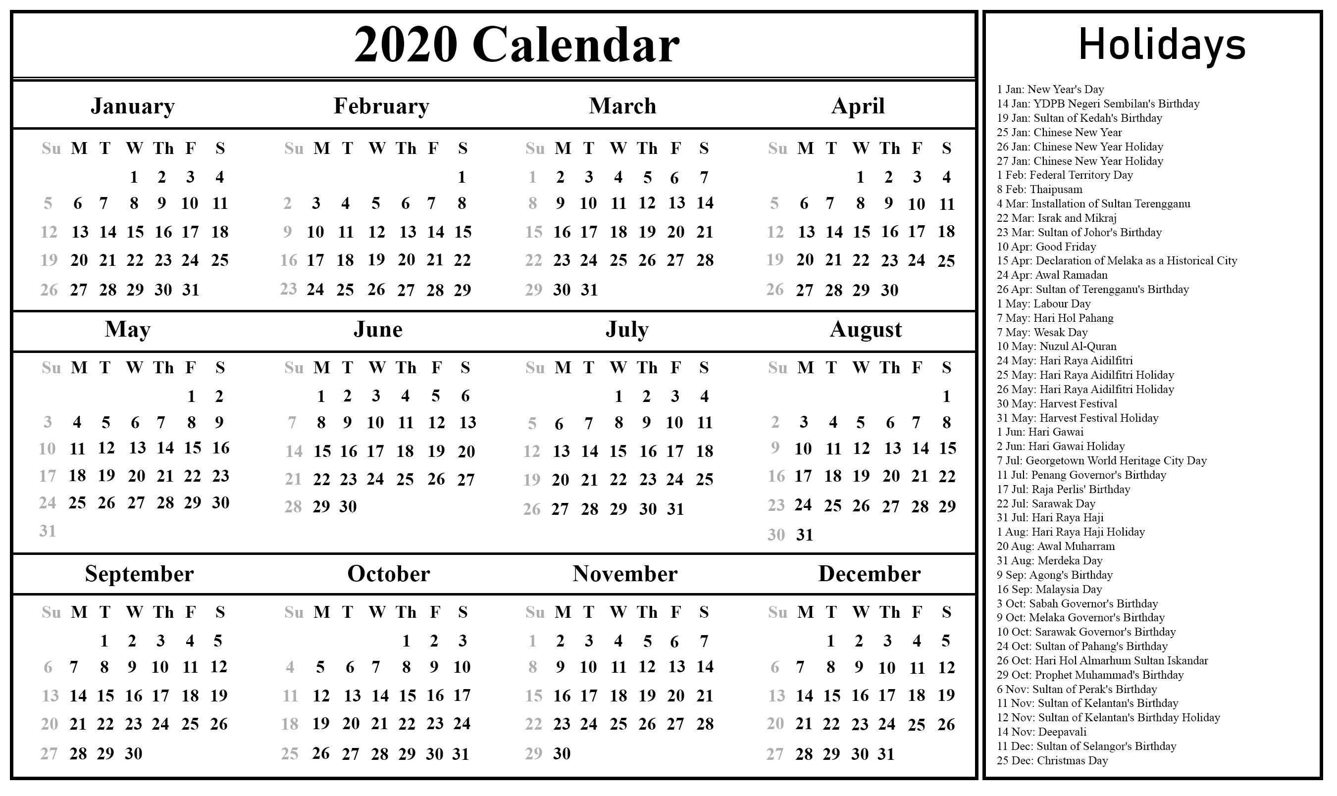 Free Printable Malaysia Calendar 2020 In Pdf, Excel & Word regarding Malaysia Kuda Calendar 2020