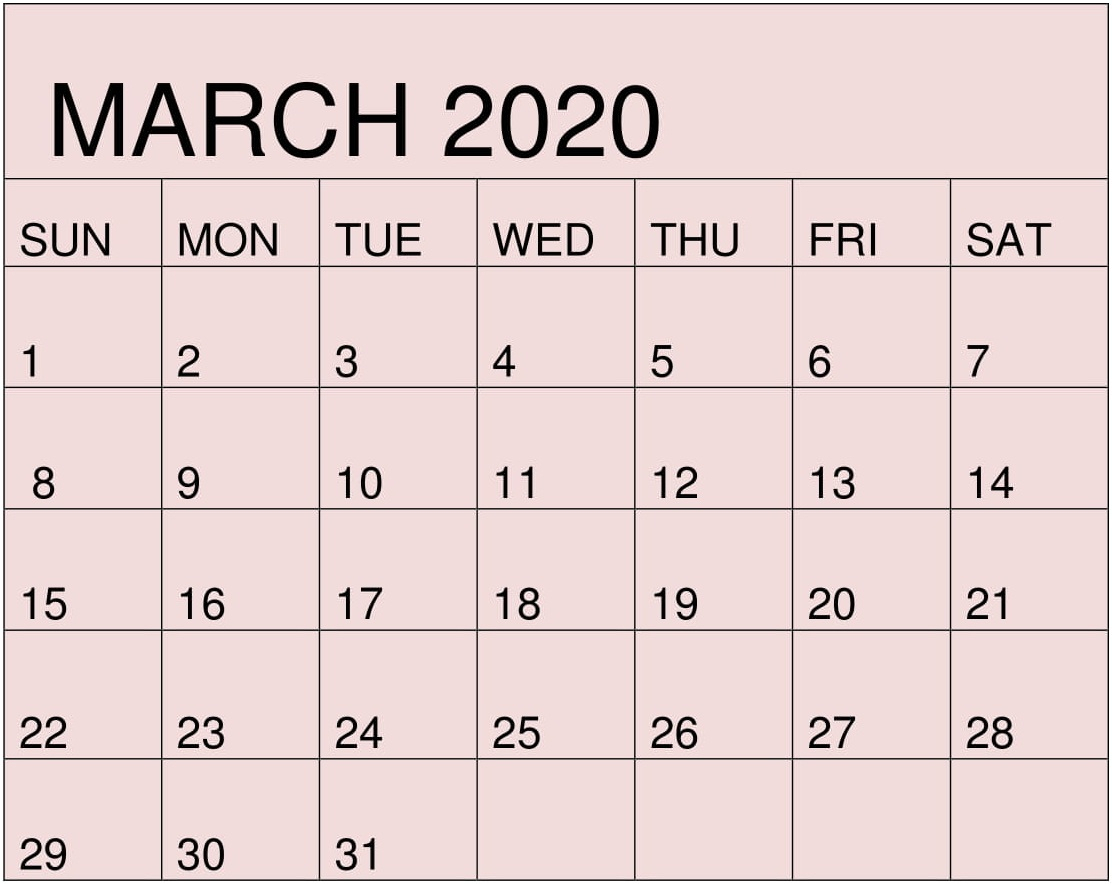 Free Printable March 2020 Calendar By Month Template – Free with regard to Google Calendar Printable Template