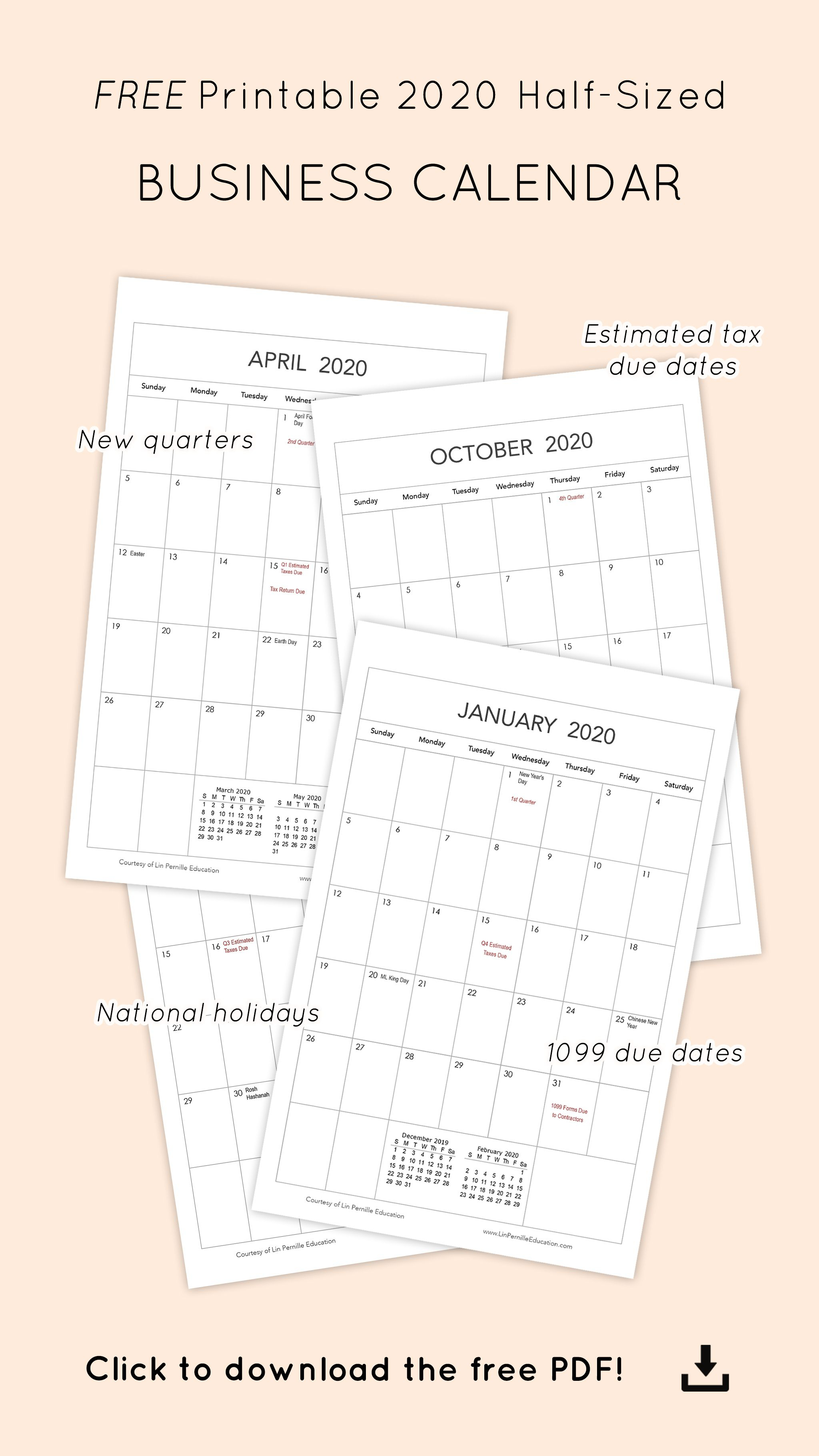 Free Printable Monthly 2020 Business Calendar | Photography with regard to Free Printable Due Date Calendar